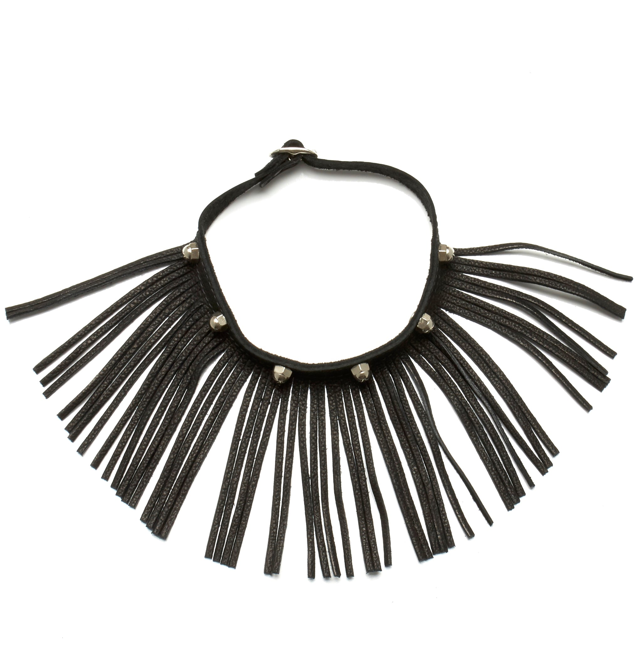LEATHER CHOKER NECKLACE WITH DEERSKIN LEATHER FRINGE AND STAINLESS STEEL HARDWARE by nyet jewelry