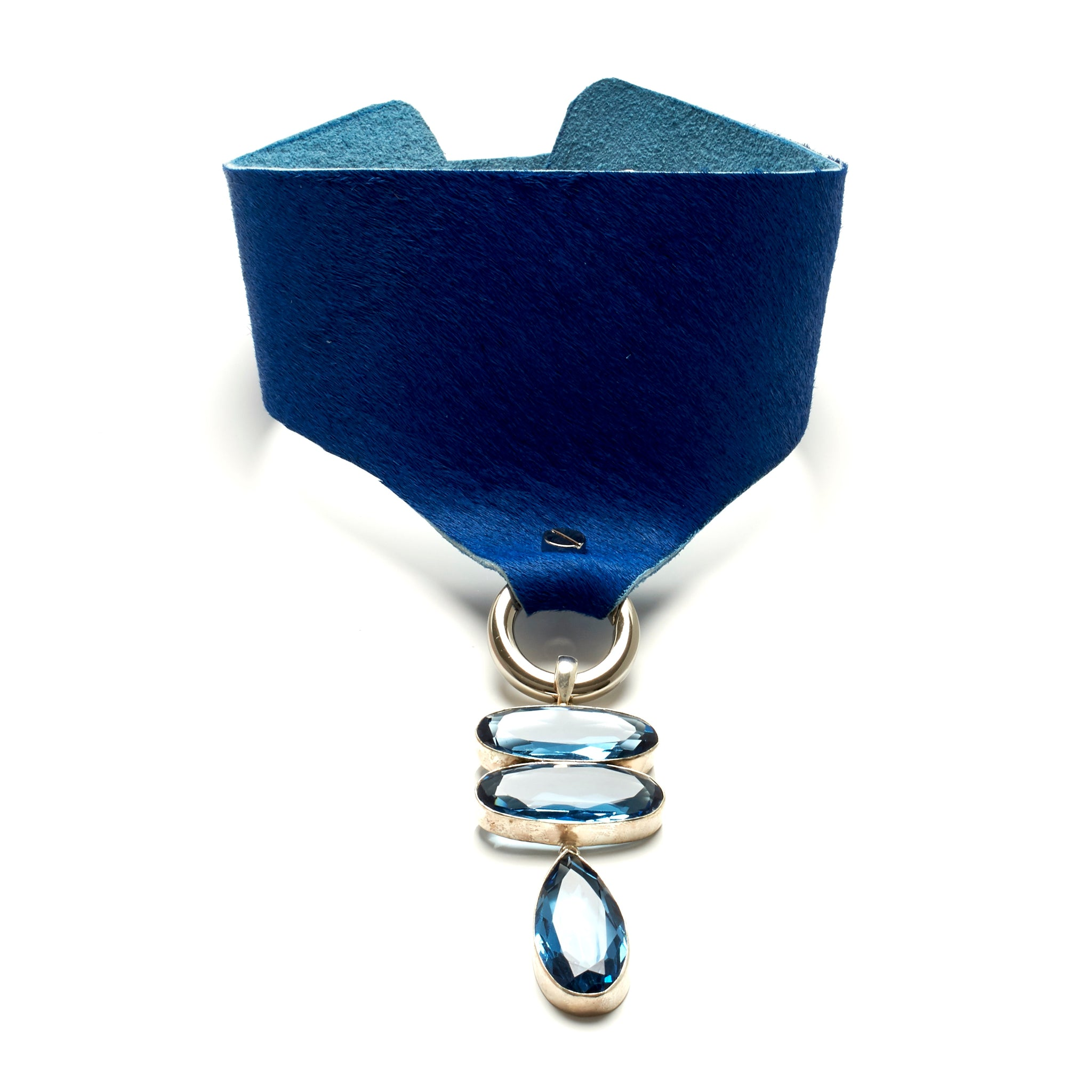 WIDE HAIR-ON COWHIDE CHOKER WITH LARGE SILVER PENDANT WITH THREE FACETED BLUE QUARTZ STONES. by nyet jewelry.