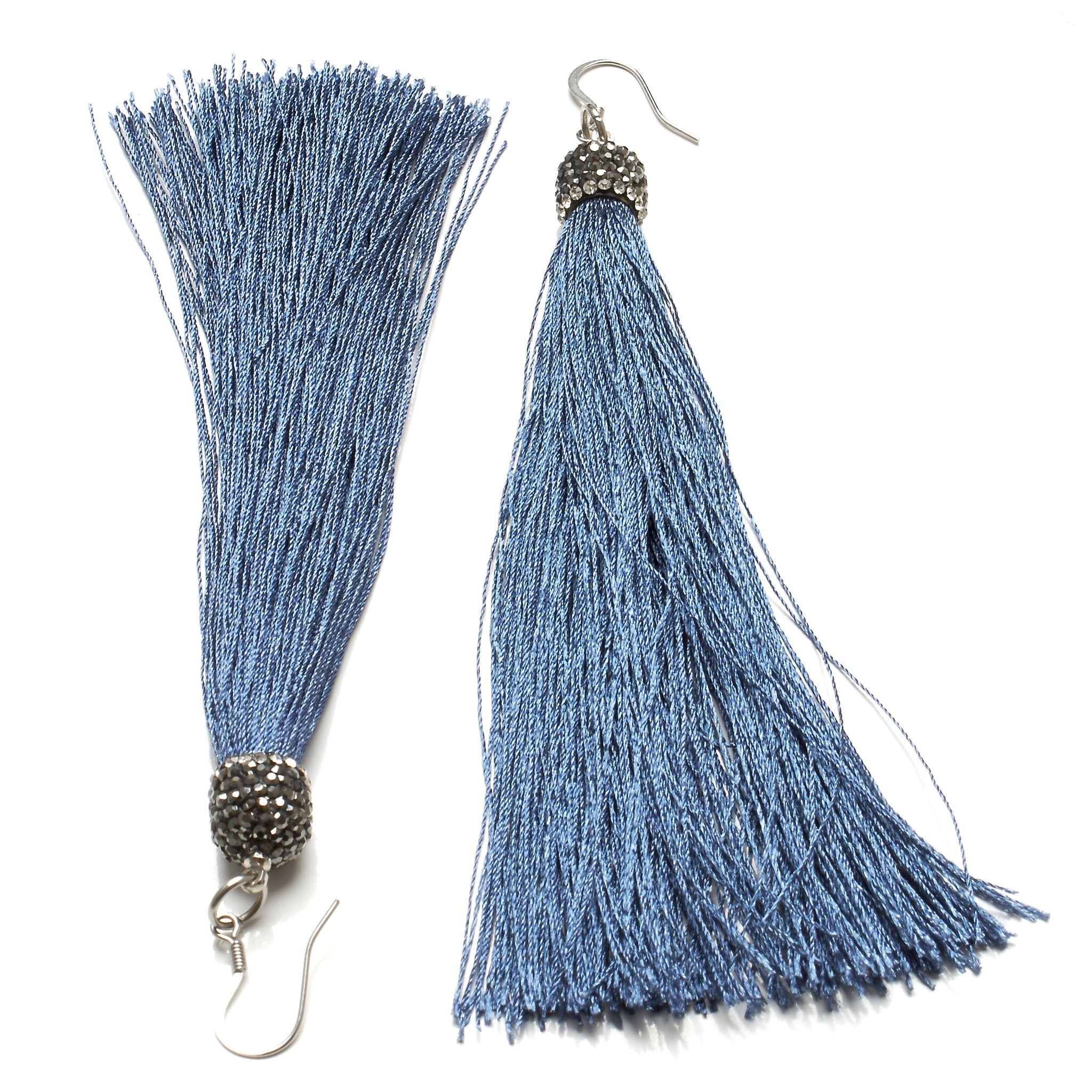 SILK TASSEL AND PAVE RHINESTONES EARRINGS by nyet jewelry