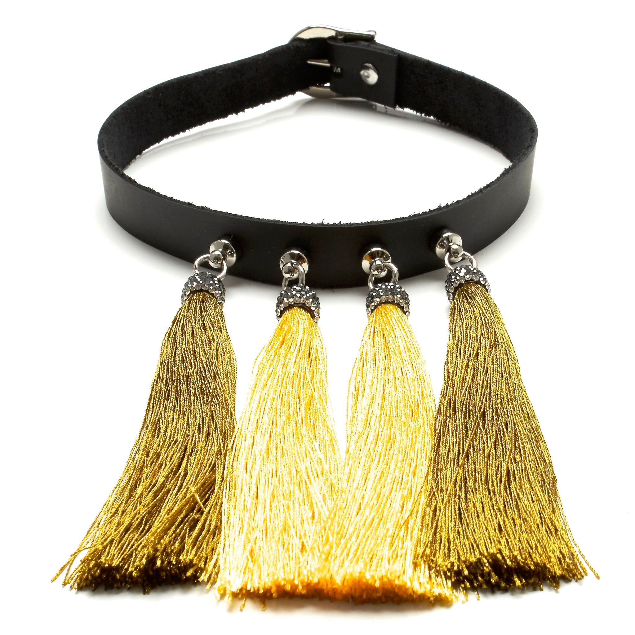 chinoiserie choker leather and silk tassels by NYET Jewelry