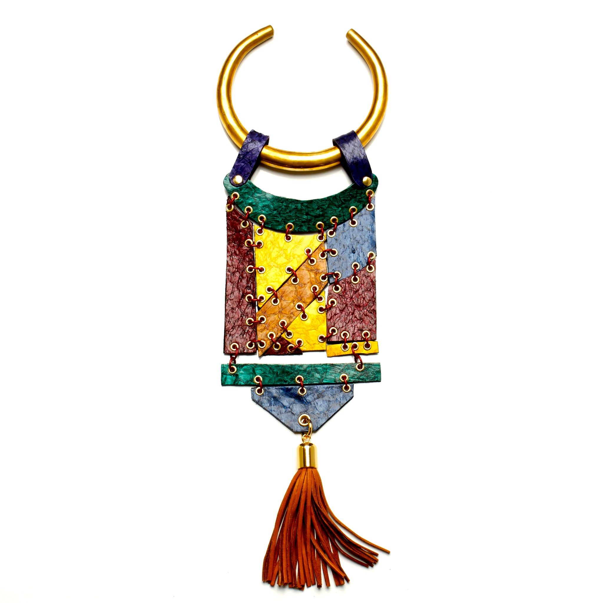 THICK ROUND SOLID BRASS TORQUE NECKLACE WITH HINGED PANELS MADE OF FISH LEATHER WITH DEERSKIN TASSEL BY NYET JEWELRY.