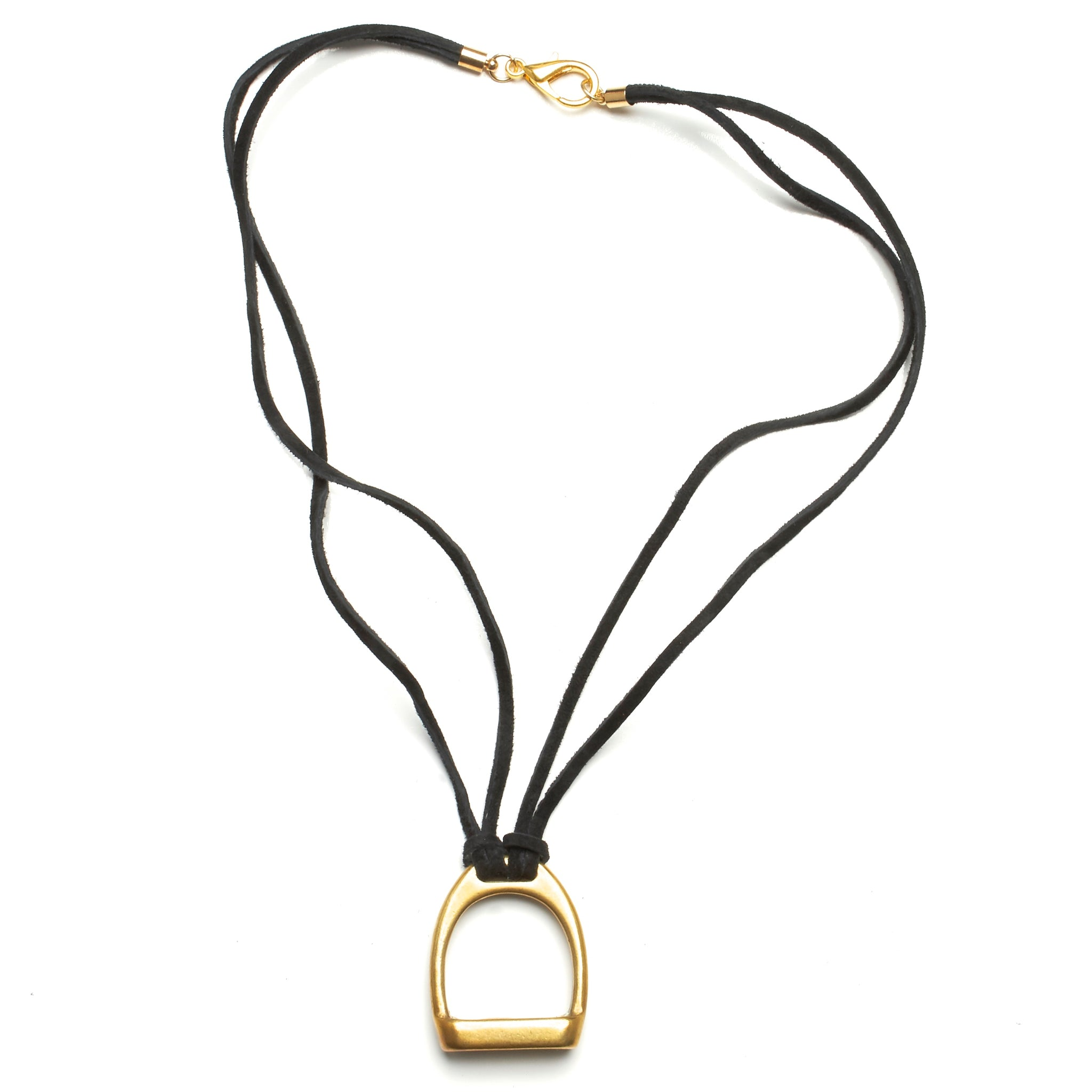 STIRRUP AND SUEDE NECKLACE BY NYET JEWELRY.