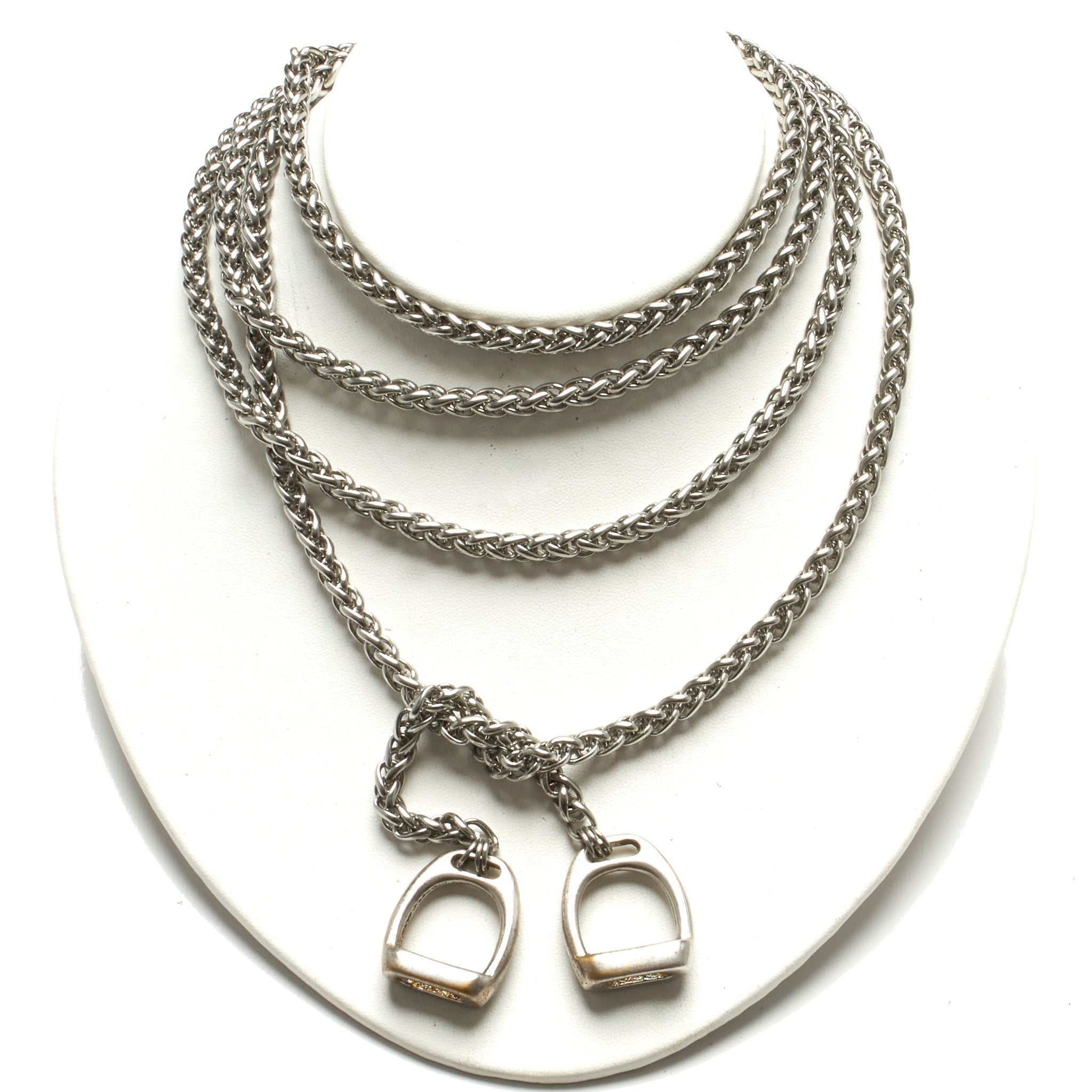 Extra Long Stainless Steel Lariat With stirrups by nyet jewelry.
