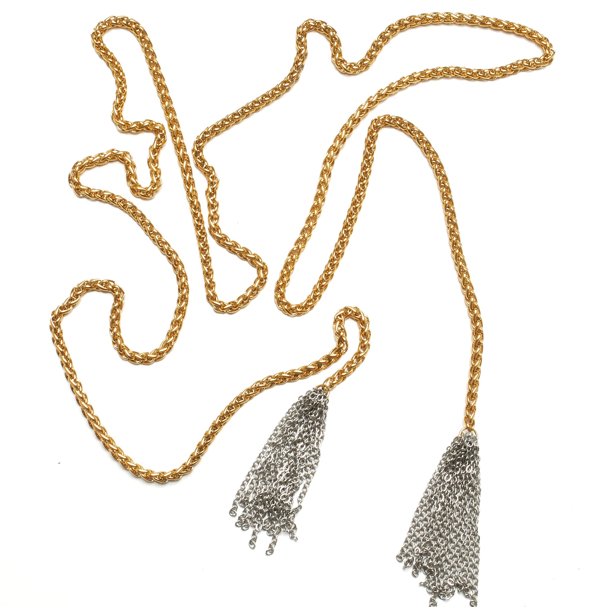 Extra Long Gold over Stainless Steel Lariat With Chain Tassels NYET Jewelry