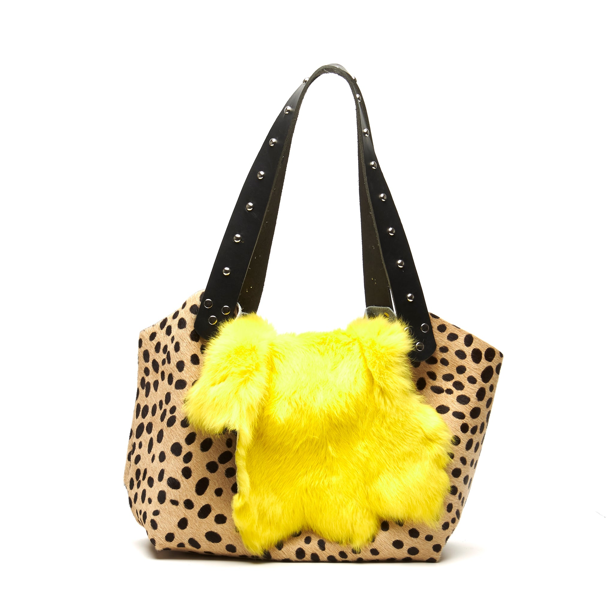 HAIR-ON COWHIDE LARGE TOTE BAG WITH CHEETAH PATTERN AND BRIGHTLY DYED FUR FLAP. by nyet jewelry.