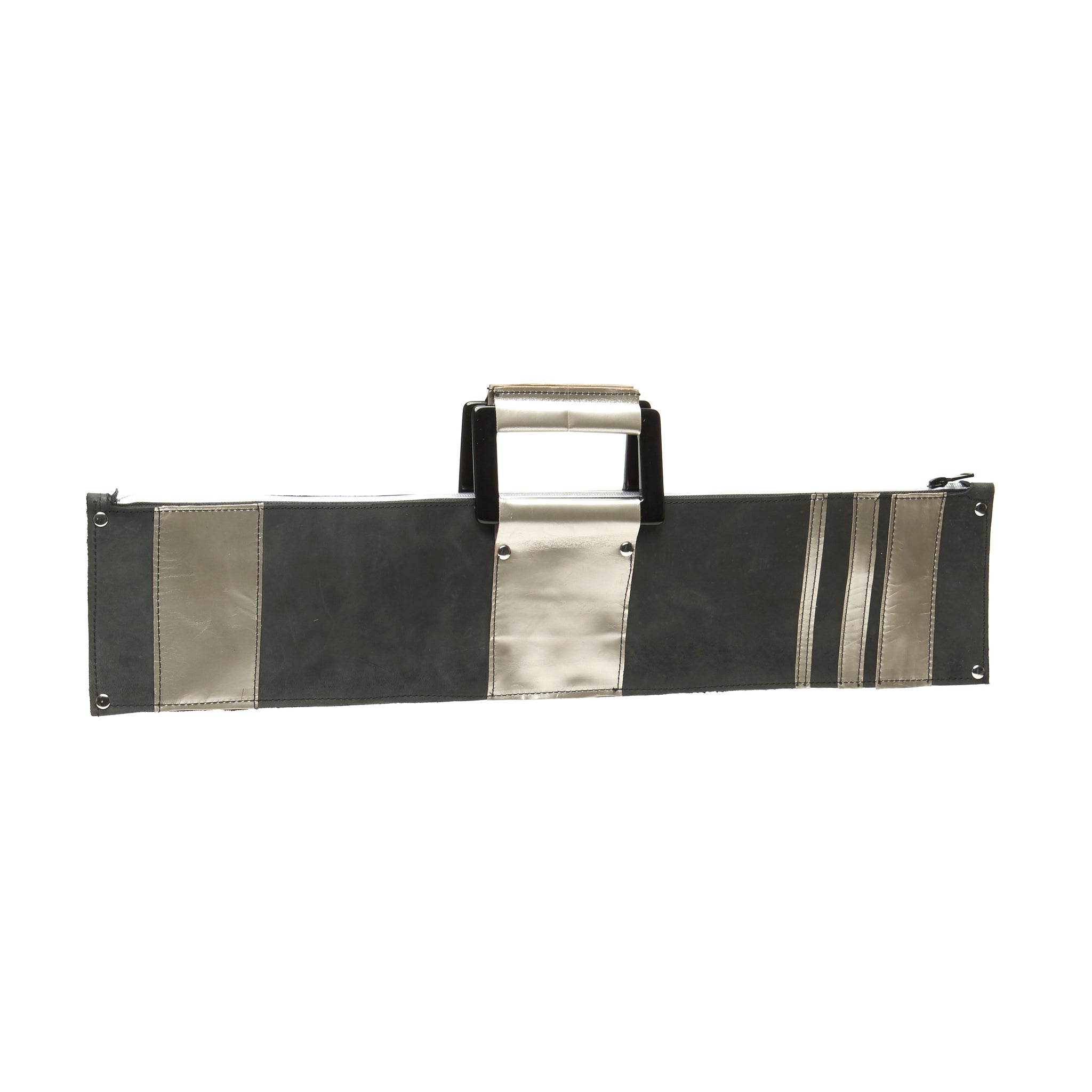 ZIPPERED 3XL MATTE GREY STONE OILED LEATHER CLUTCH WITH SILVER LEATHER ACCENTS AND STRIPES. by nyet jewelry.
