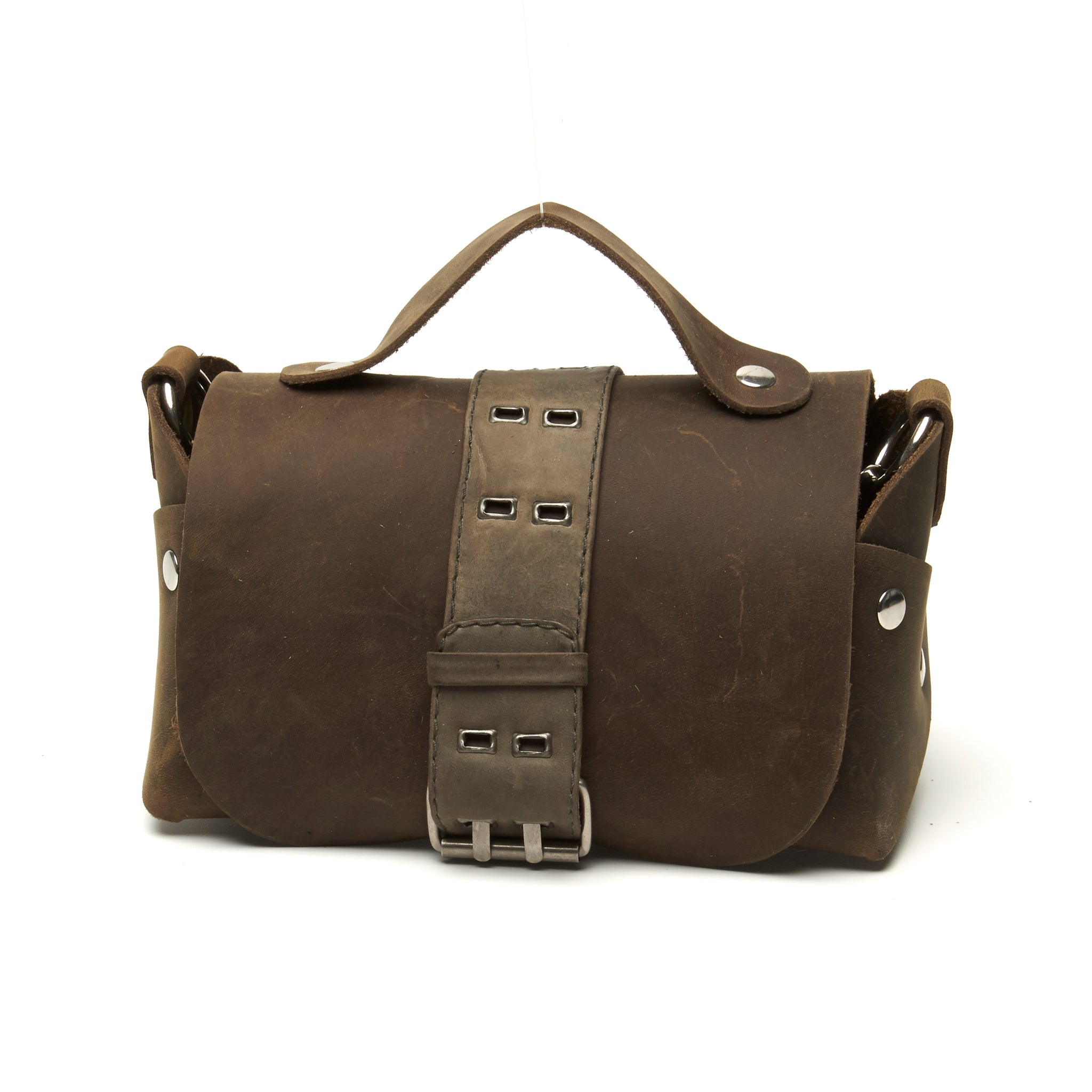 Belted Distressed utility leather lunch box bag by Nyet Jewelry