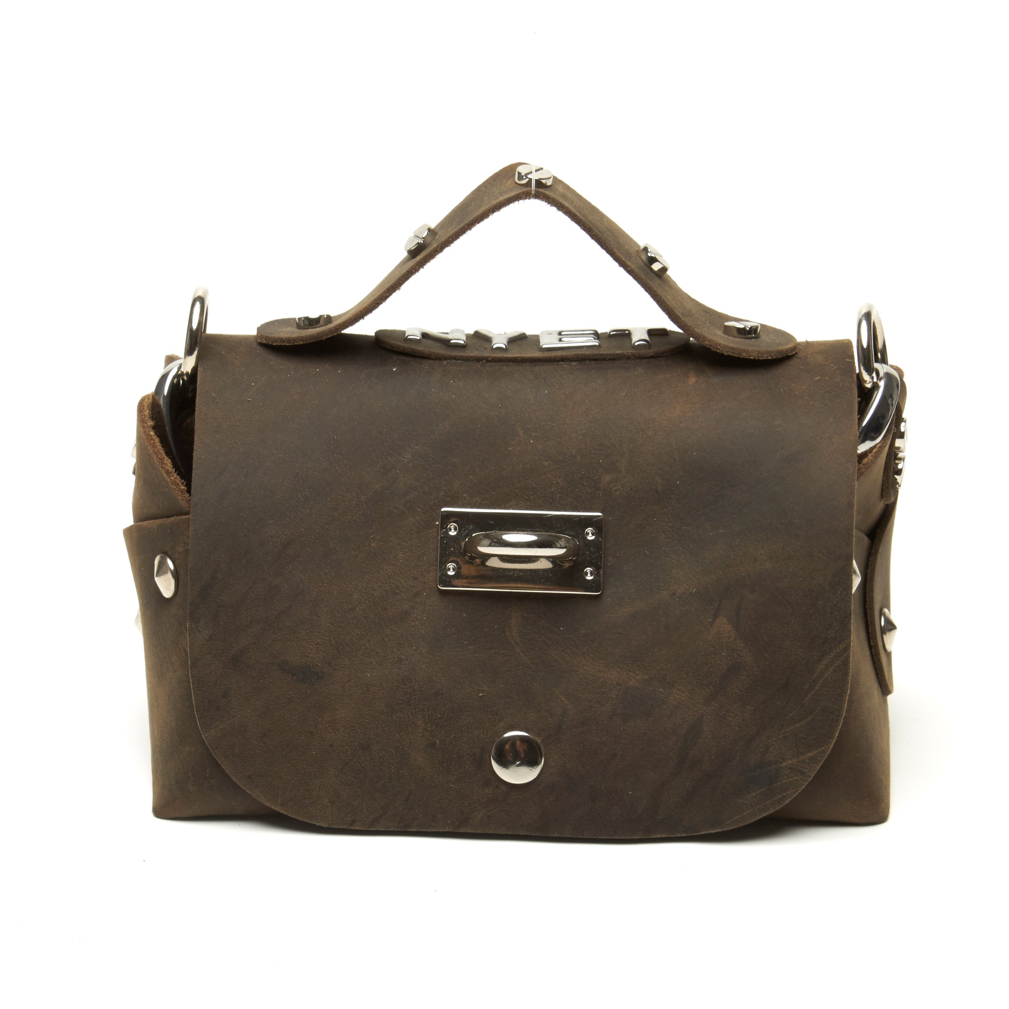 Distressed lunch bag with logo and accent hardware by NYET Jewelry.