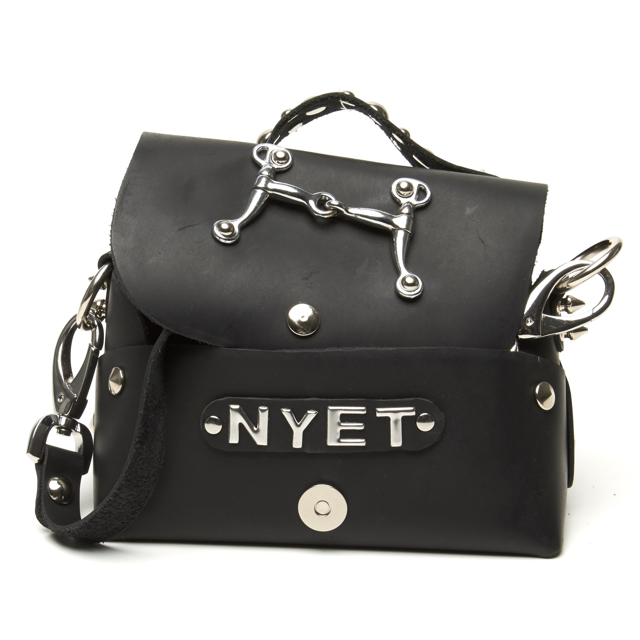 Nyet Jewelry leather lunch box evening bag