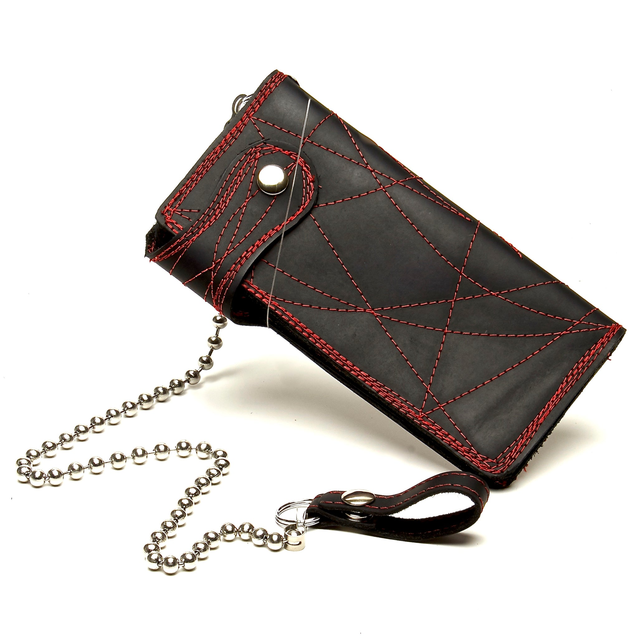 BLACK STONE OILED LEATHER COWHIDE BIKER WALLET WITH RED CONTRASTING STITCHING THROUGHOUT AND MATCHING CHAIN. by nyet jewelry.