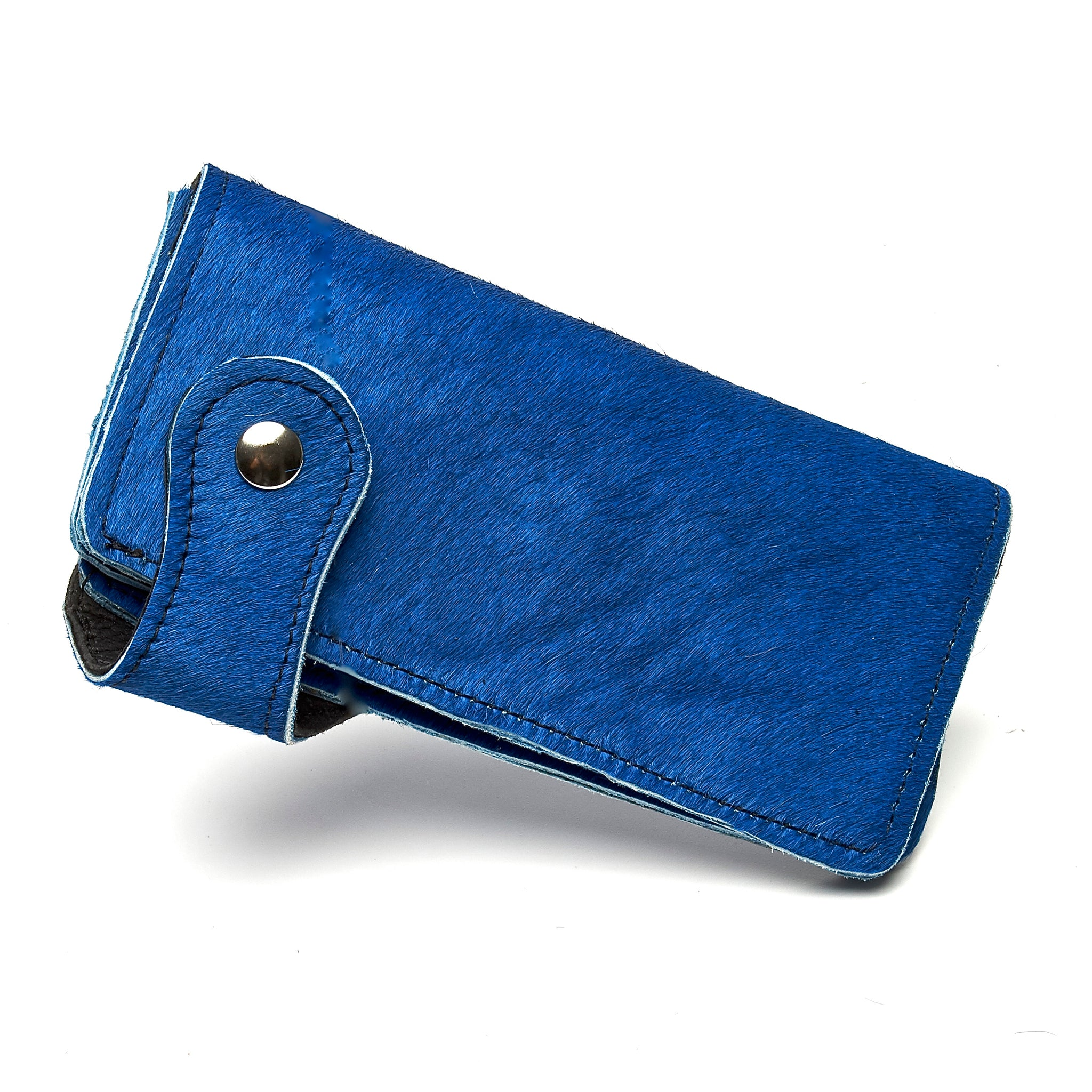 COBALT BLUE HAIR-ON COWHIDE BIKER WALLET. by nyet jewelry.