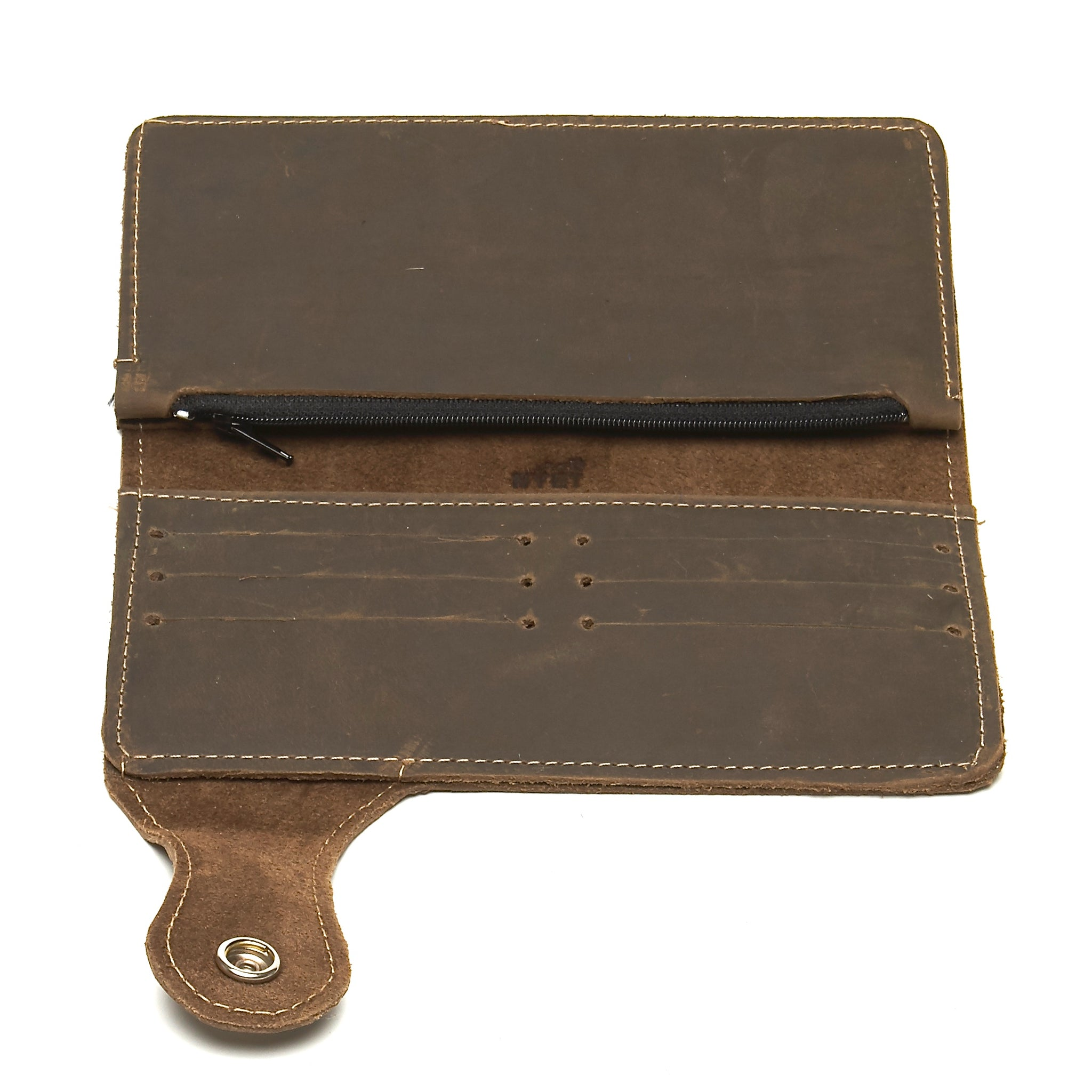 DISTRESSED UTILITY LEATHER COWHIDE BIKER WALLET. by nyet jewelry.