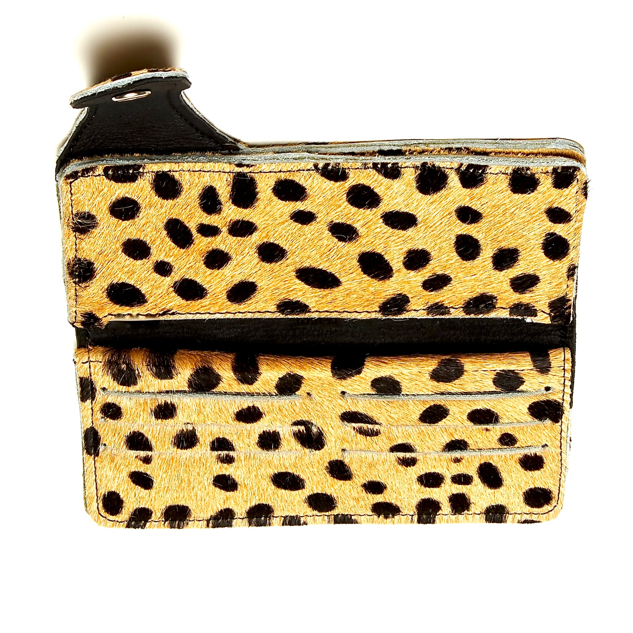CHEETAH PATTERNED HAIR-ON COWHIDE BIKER WALLET. by nyet jewelry