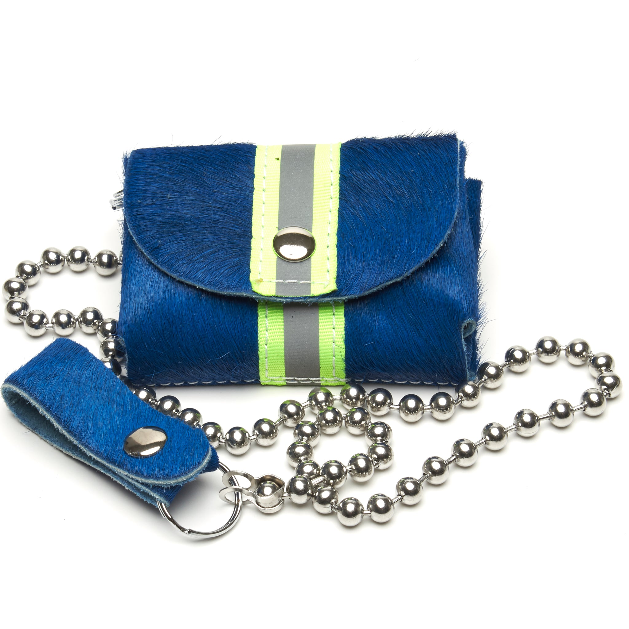 The Essentials wallet cobalt blue hair-on cowhide with neon yellow reflective band