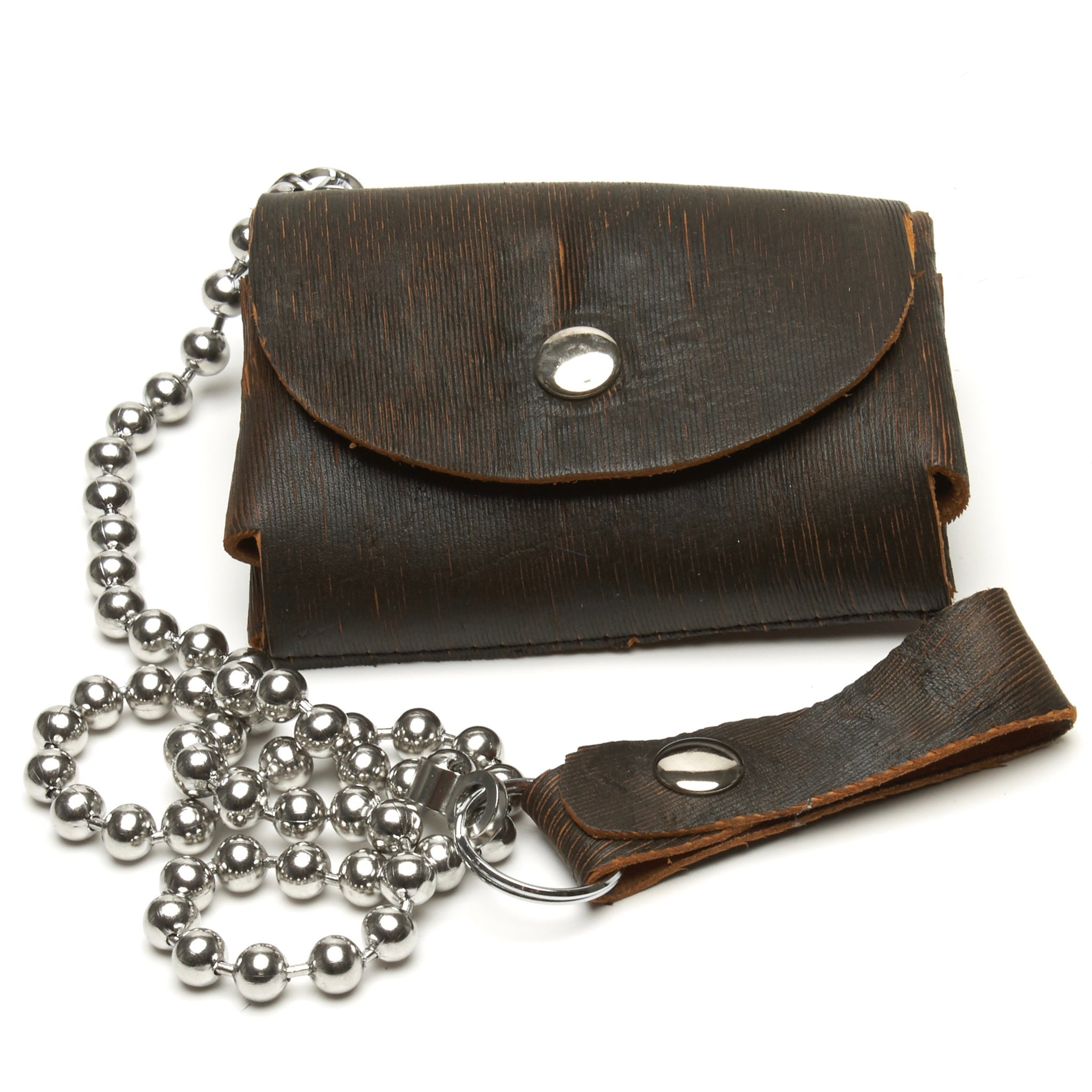 LASER CUT TEXTURED LEATHER 2-COMPARTMENT WALLET WITH SNAP CLOSURE AND OPTIONAL CHAIN by NYET Jewelry.