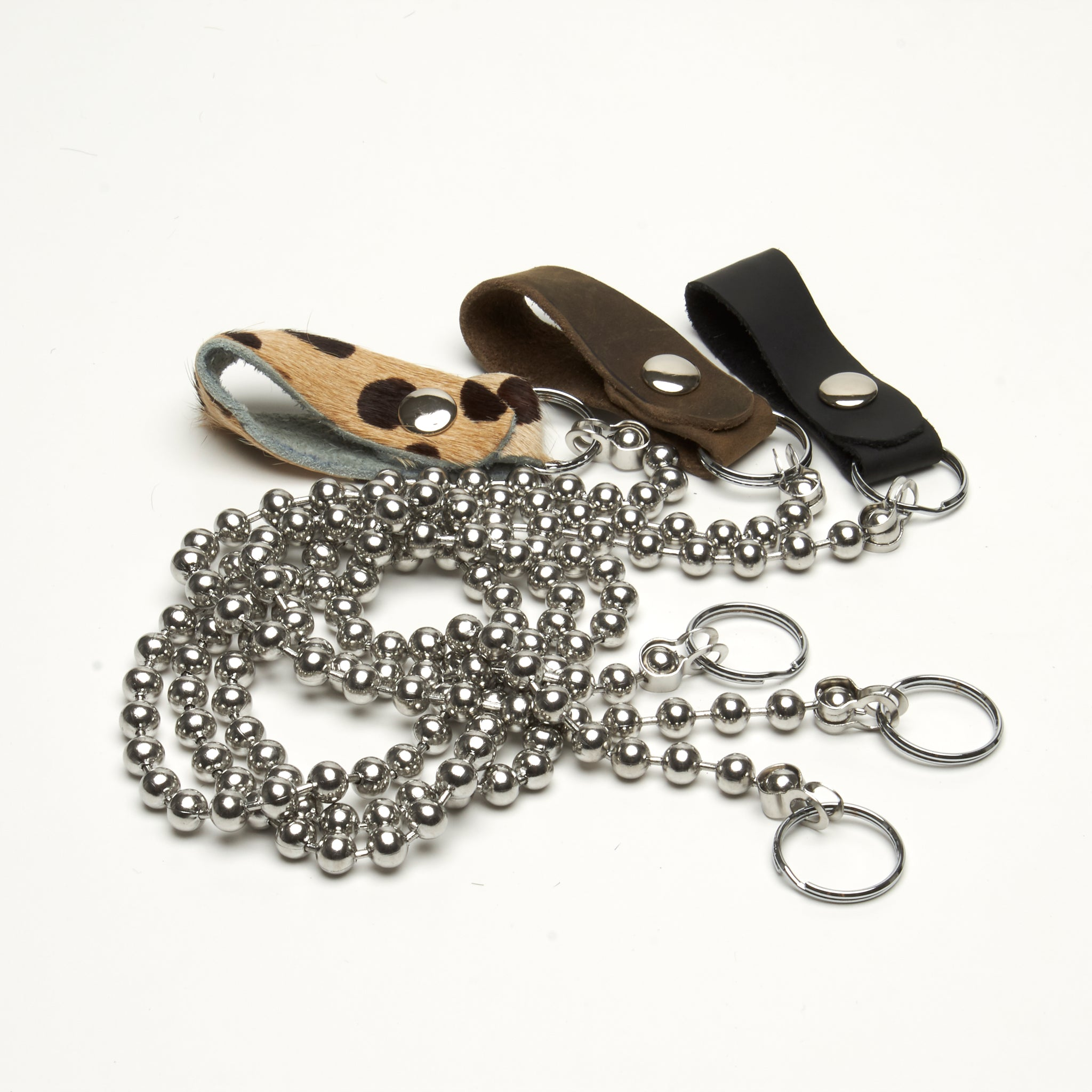 WALLET CHAIN 8 MM STAINLESS STEEL BALL BEADS WITH LEATHER SNAP CLOSURE. By NYET Jewelry.
