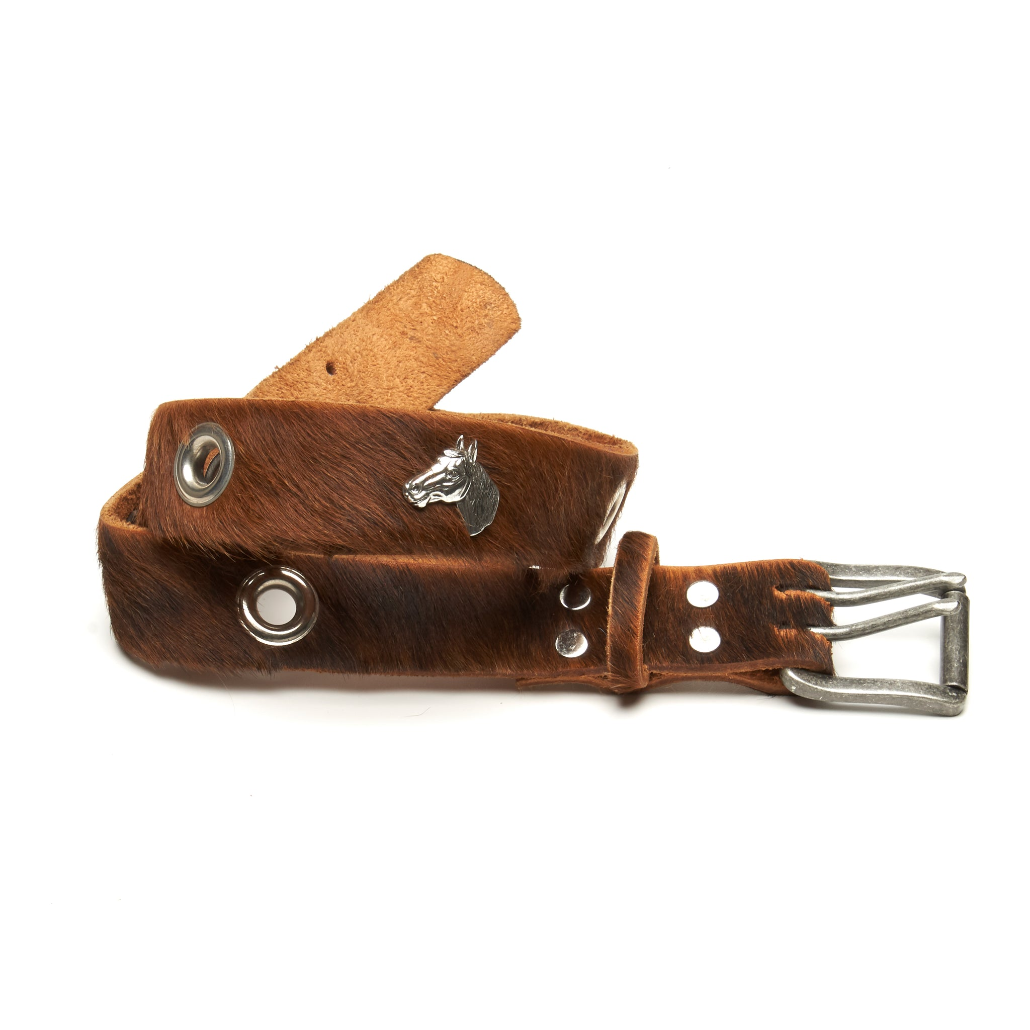 Horse head equestrian hair on cowhide belt by NYET Jewelry.