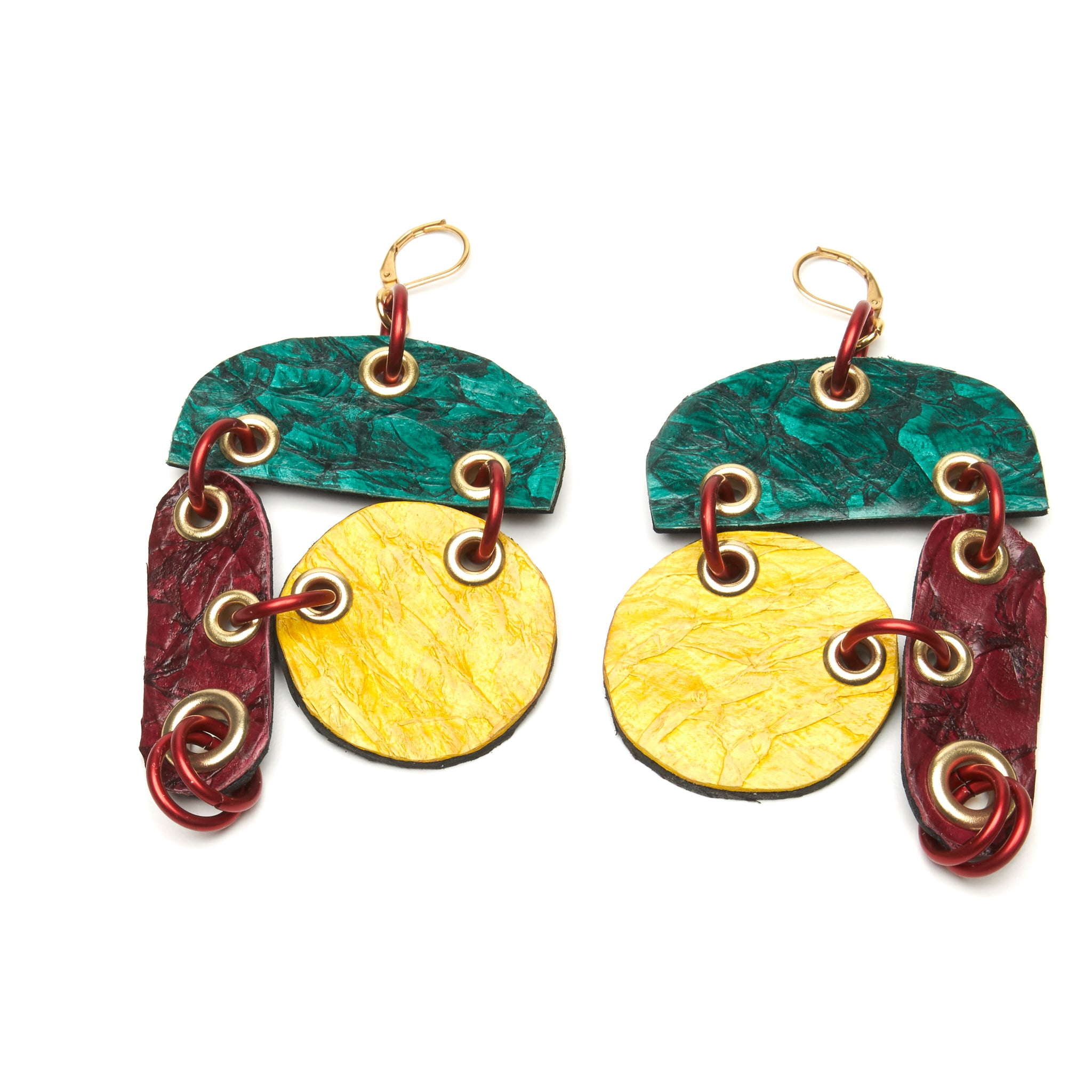 FISH leather multi color earrings by NYET Jewelry.