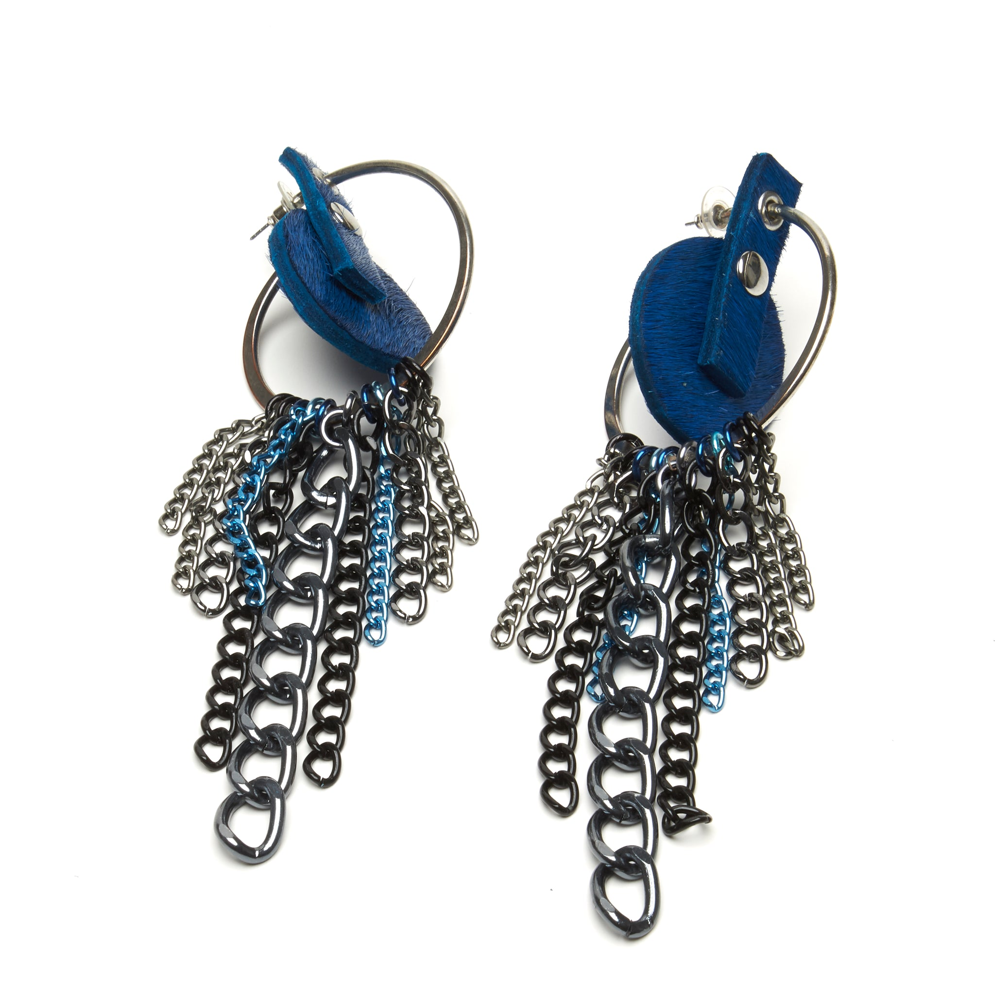 COBALT BLUE HAIR-ON COWHIDE DISC EARRINGS WITH CLUSTER OF CHAINS IN ASSORTED STYLES AND COLORS. by nyet jewelry.
