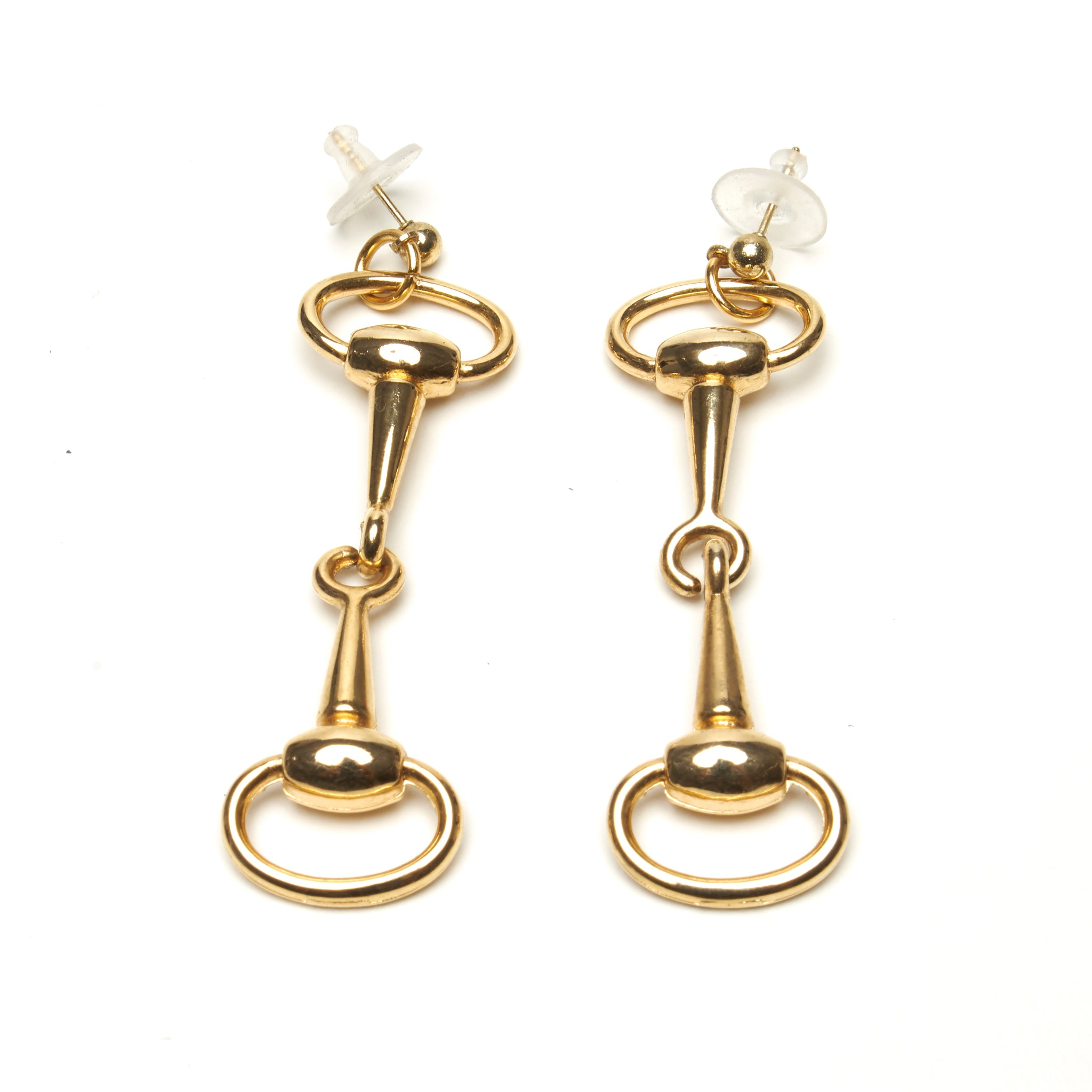 D-RING HORSE-BIT EARRINGS BY NYET JEWELRY.