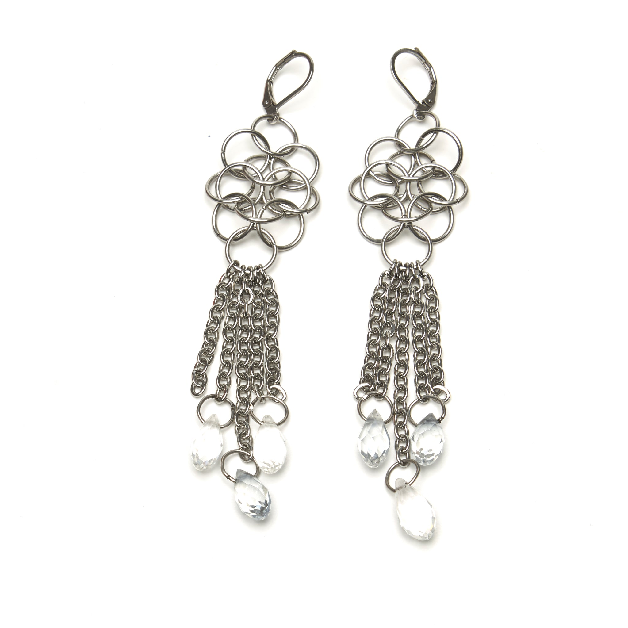 CHAINMAILLE DROP EARRINGS WITH BRIOLETTES by nyet jewelry.