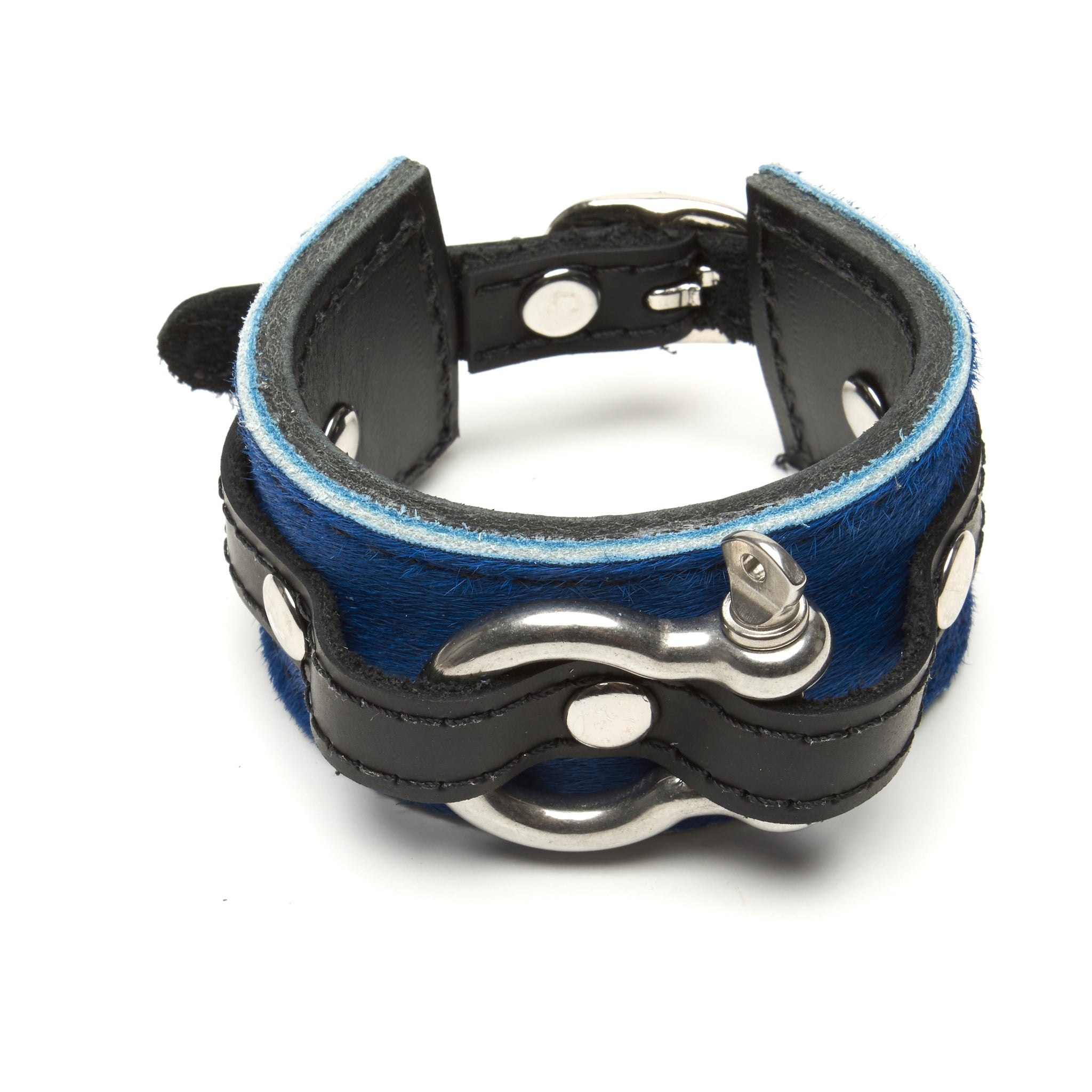 Shackle Latigo cuff Hair On Cowhide Cobalt Blue by NYET Jewelry.