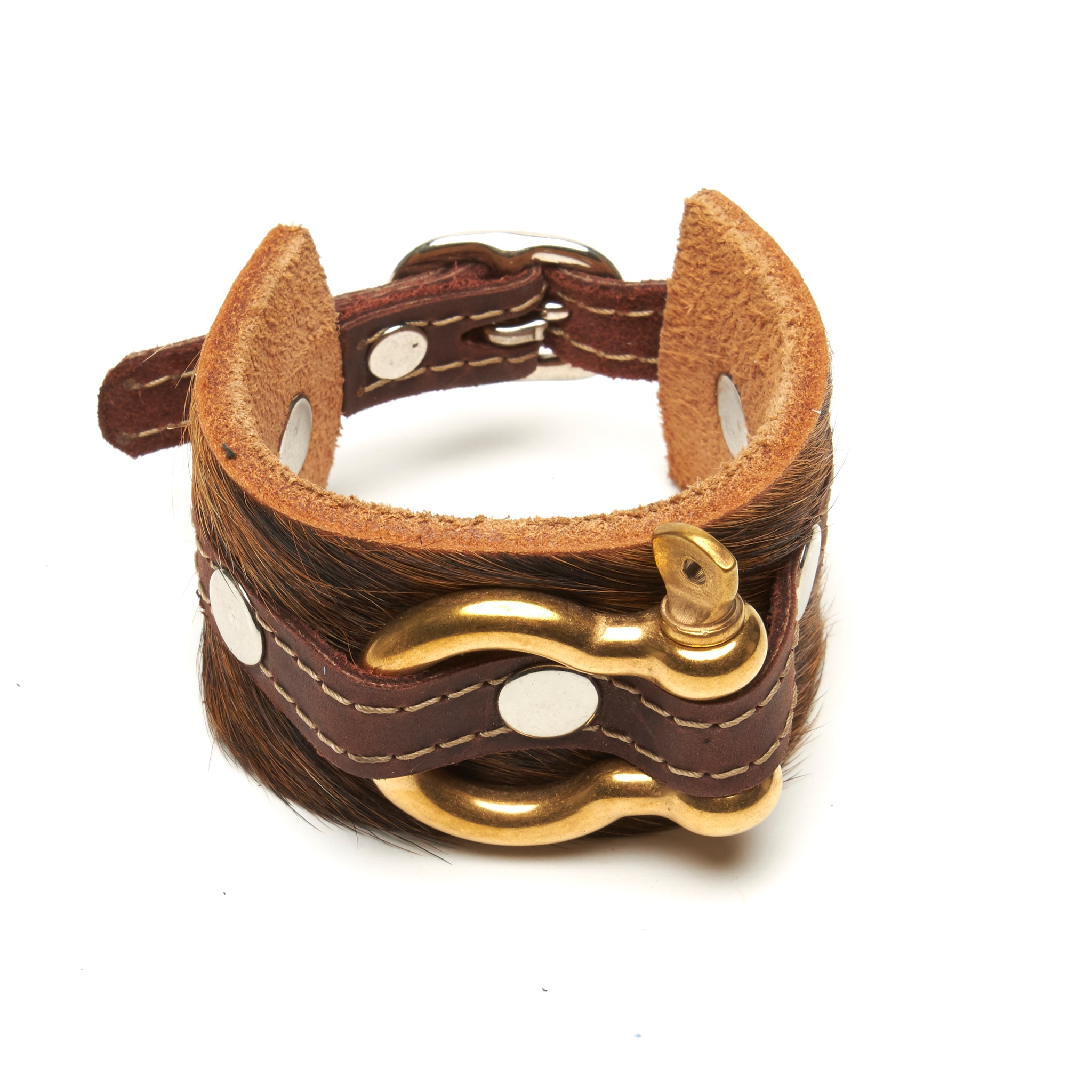 Shackle Latigo cuff Hair On Cowhide by NYET Jewelry.