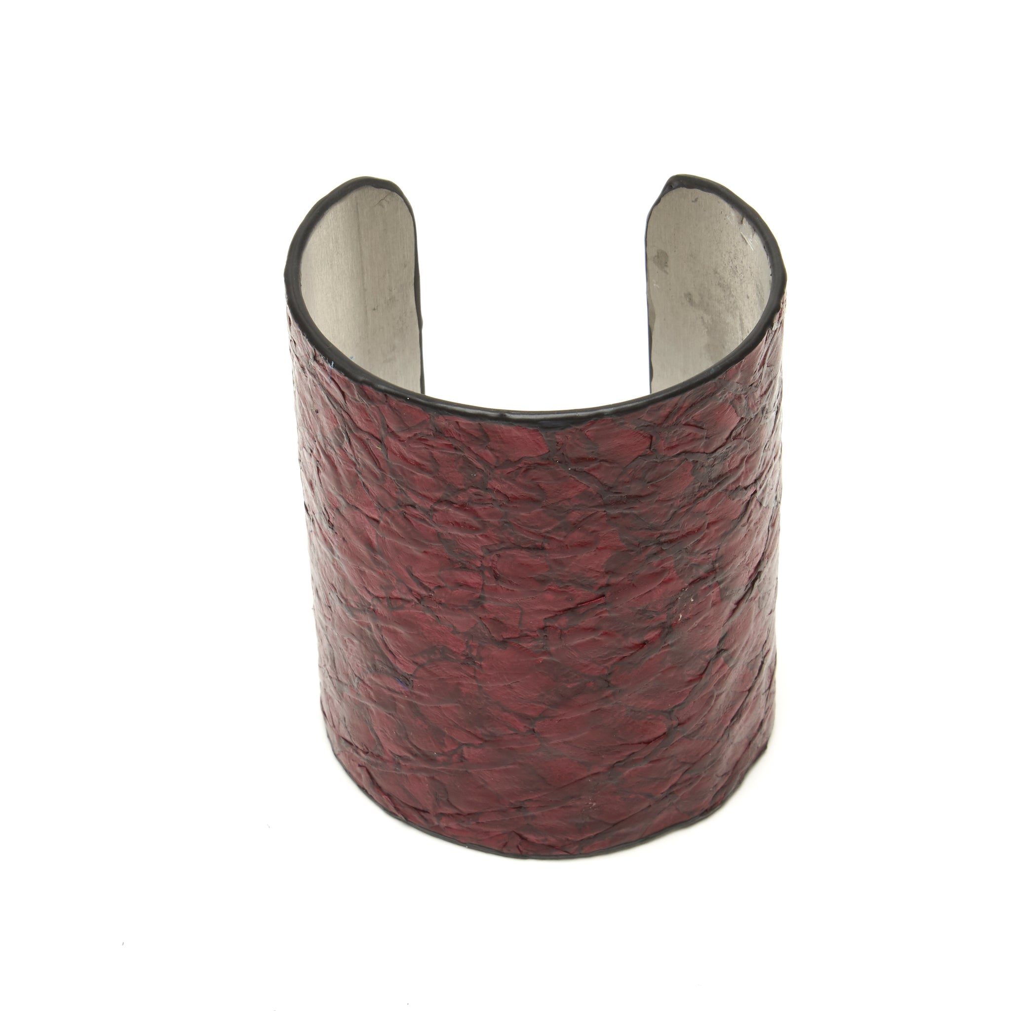 FISH LEATHER OVER ALUMINUM CUFF. BY NYET JEWELRY.