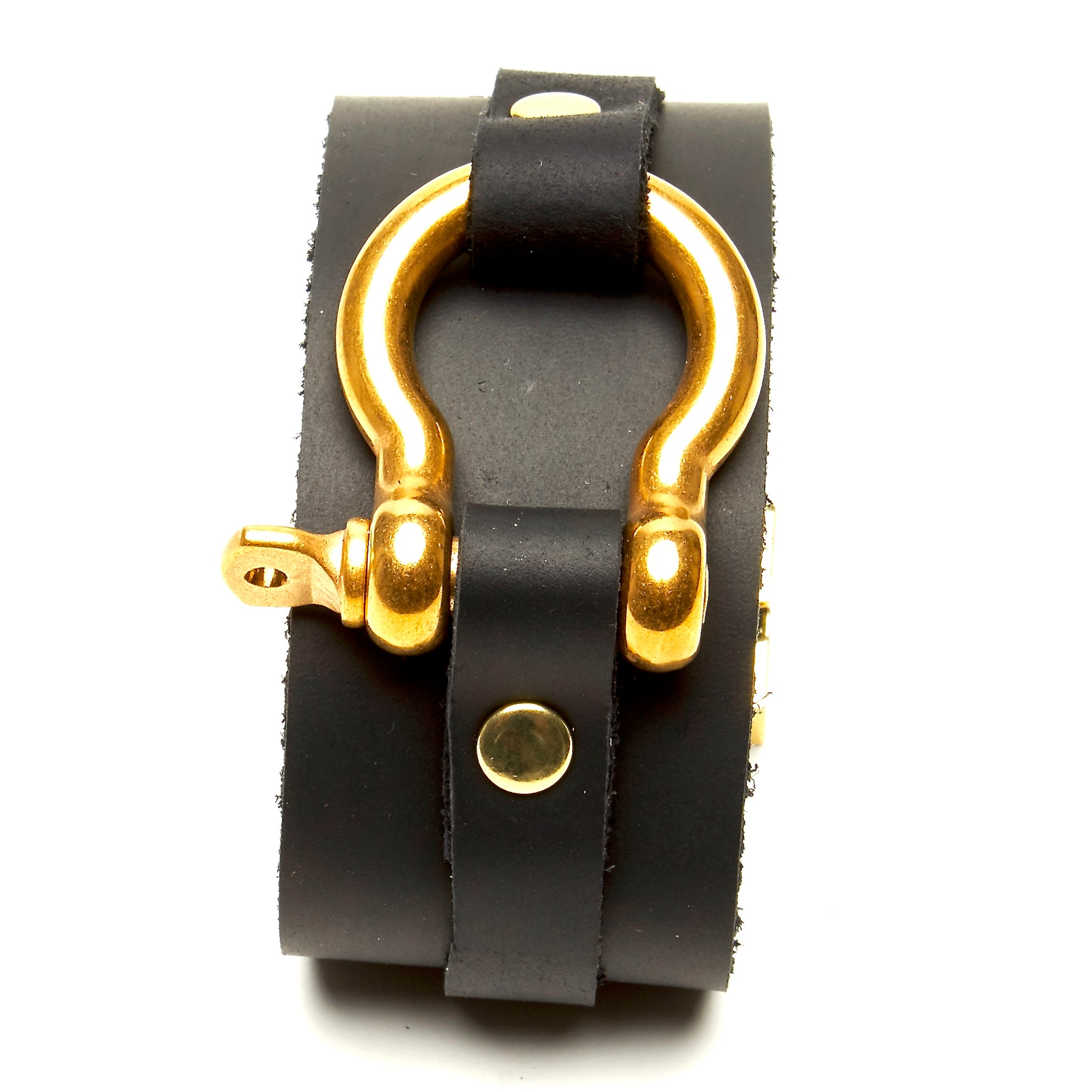 STONE OILED LEATHER CUFF WITH SHACKLE HARDWARE AND MAGNETIC CLASP. by nyet jewelry.