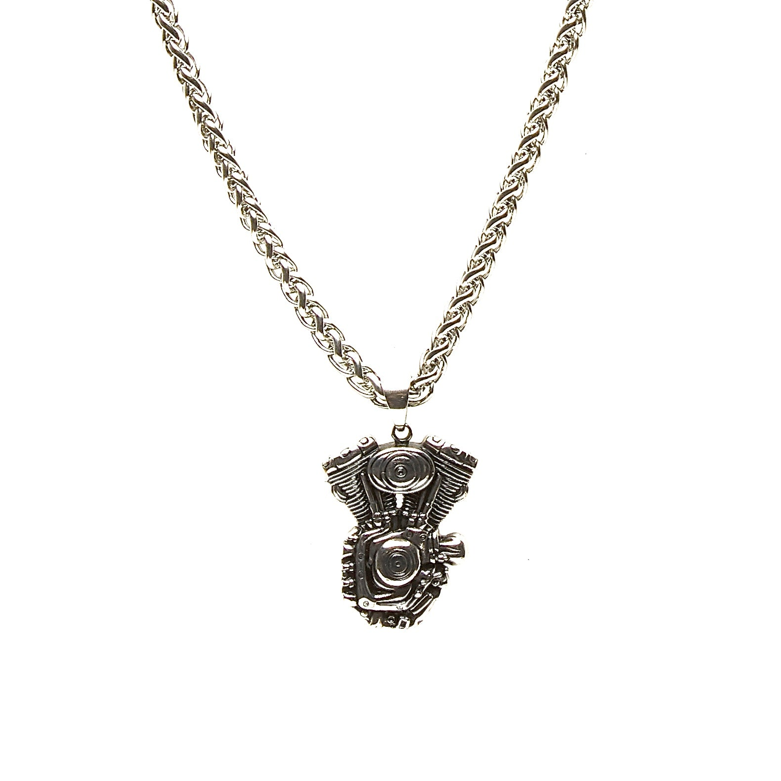 LND Motorcycle Engine Pendant in Stainless Steel