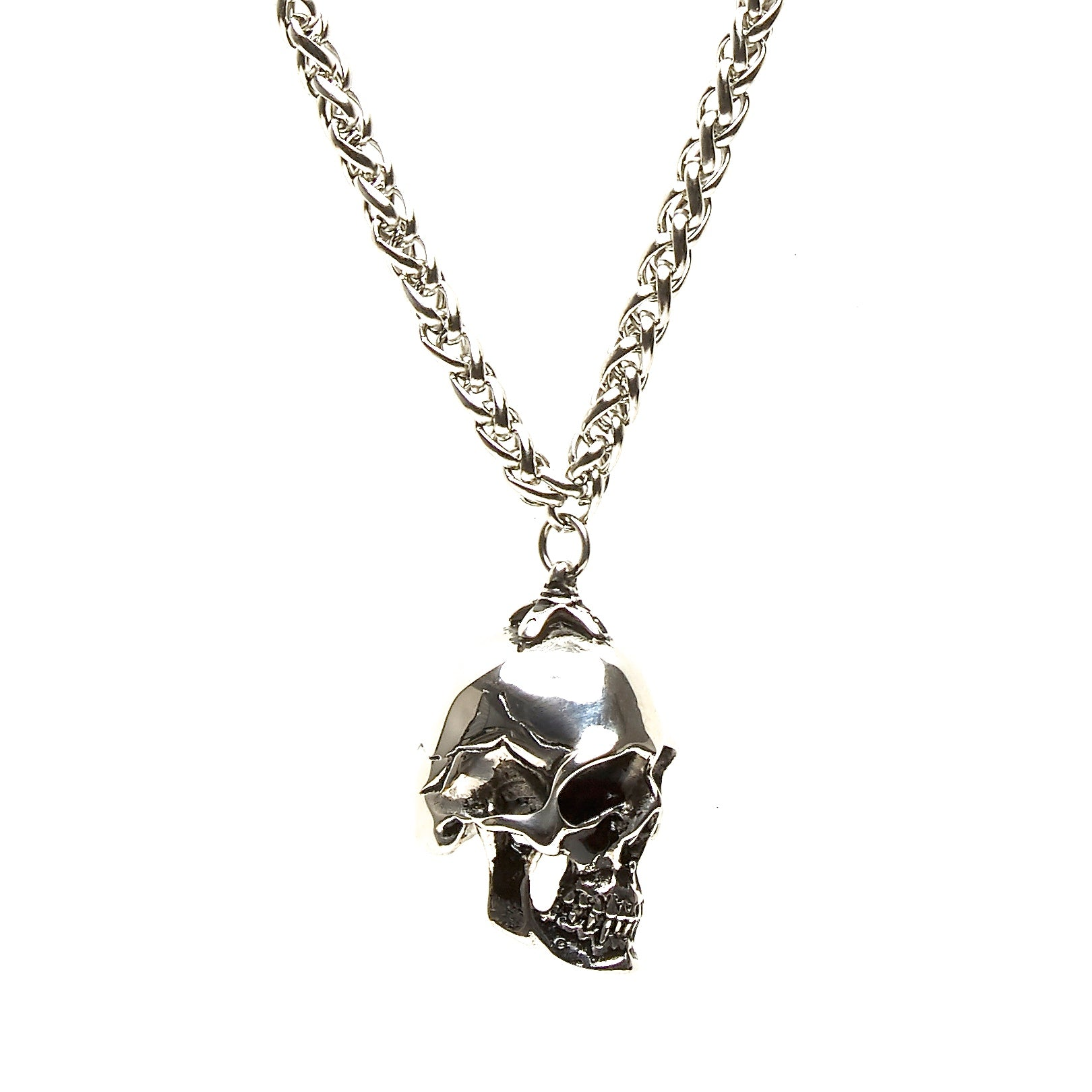 ROUND STAINLESS STEEL CHAIN NECKLACE WITH HEAVYWEIGHT SKULL PENDANT. by nyet jewelry.