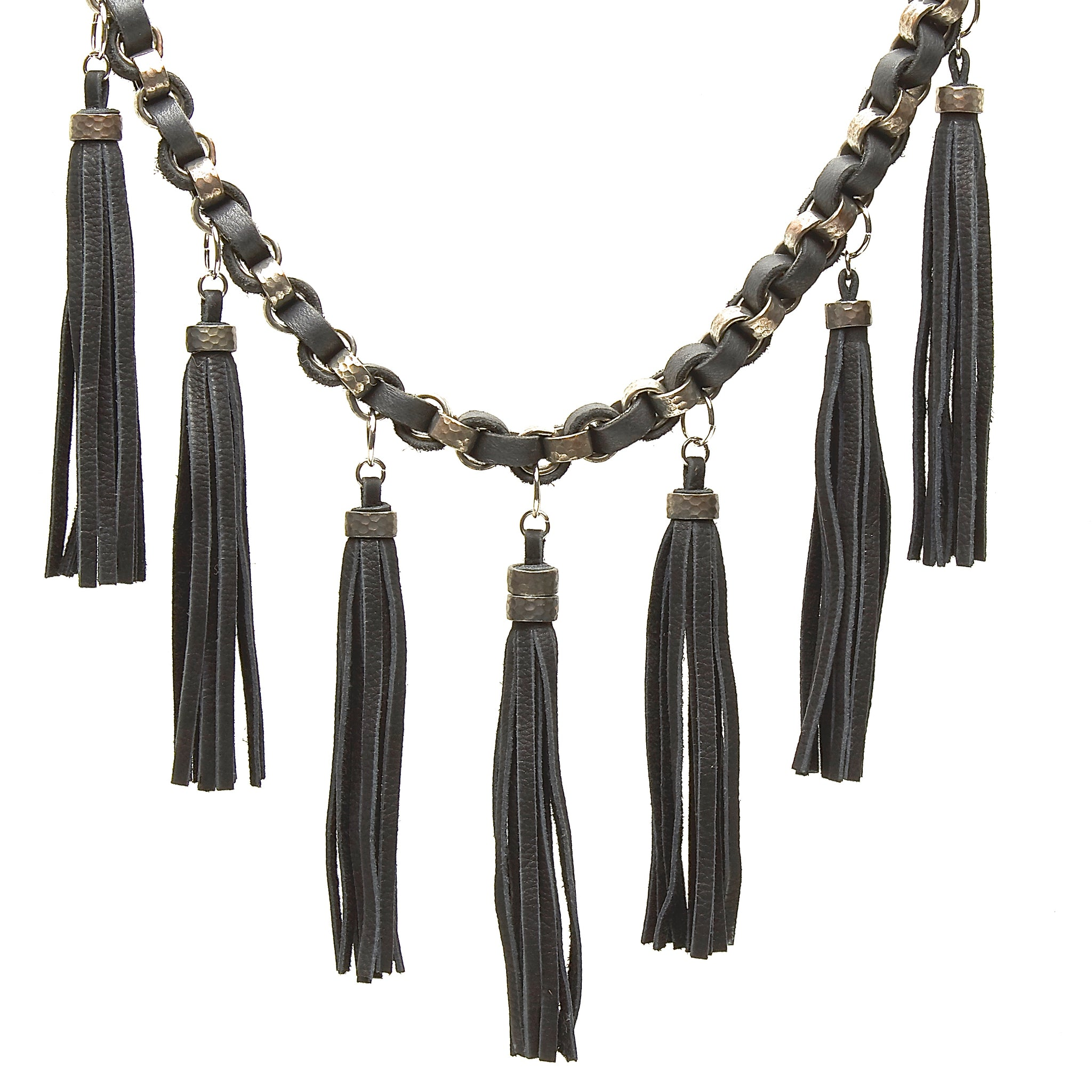 HAMMERED STEEL CHAIN AND DEERSKIN LEATHER WITH TASSELS by nyet jewelry.