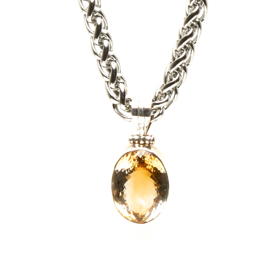 8 MM THICK STAINLESS STEEL CHAIN WITH LARGE SILVER PENDANT WITH FACETED CITRINE CABOCHON. by NYET Jewelry.