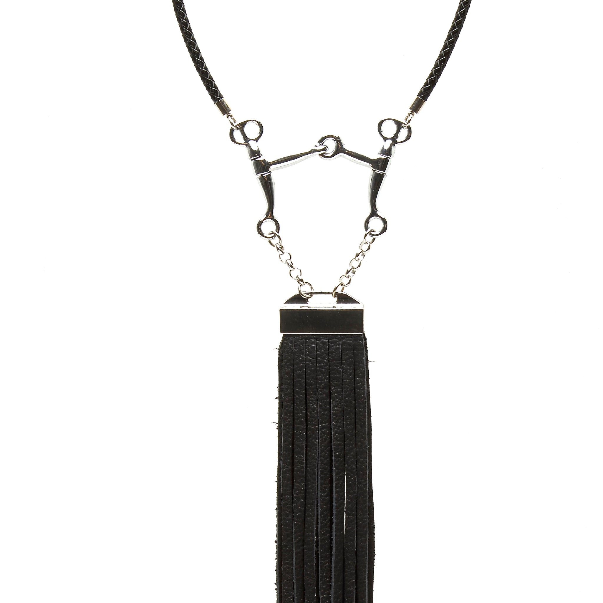 BRAIDED LEATHER CHOKER NECKLACE WITH PELHAM HORSE BIT PENDANT AND LONG DEERSKIN LEATHER FRINGE