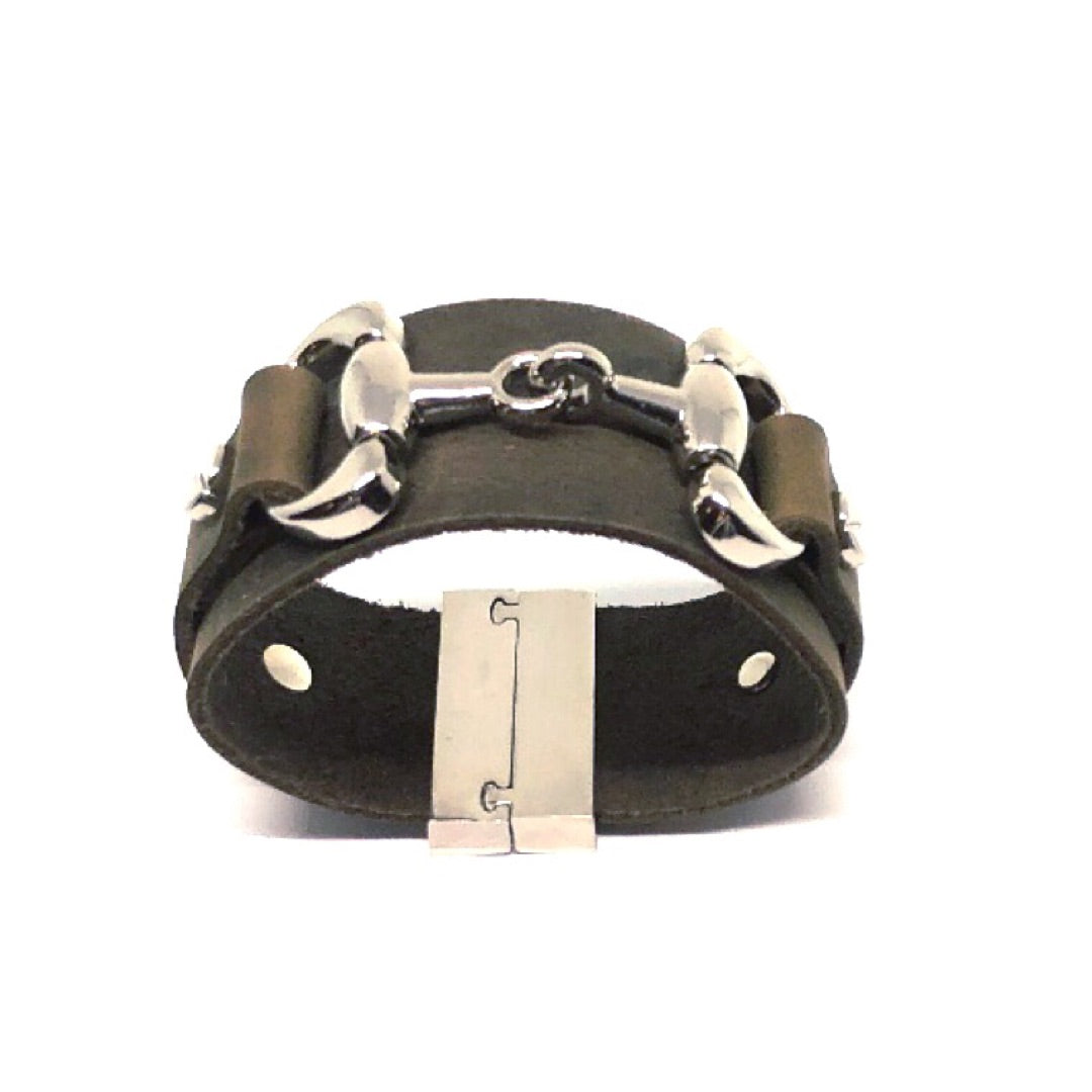 equestrian cuff distressed utility leather by nyet jewelry