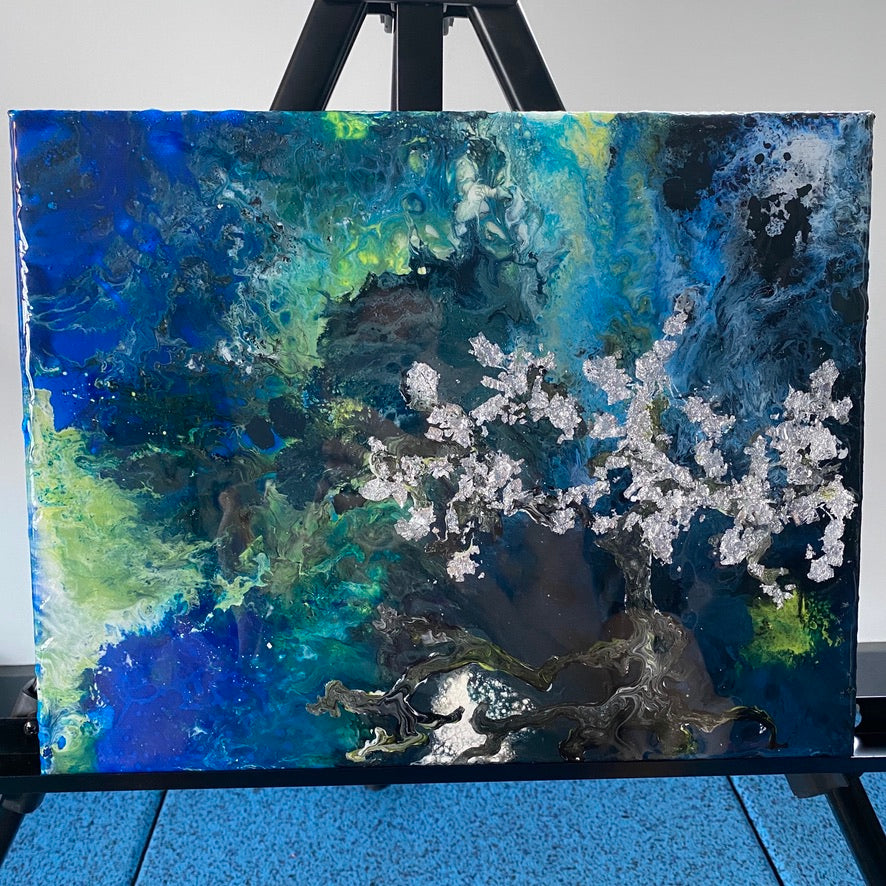 Cherry blossom tree in space painting by D. Pontvieux overall view.