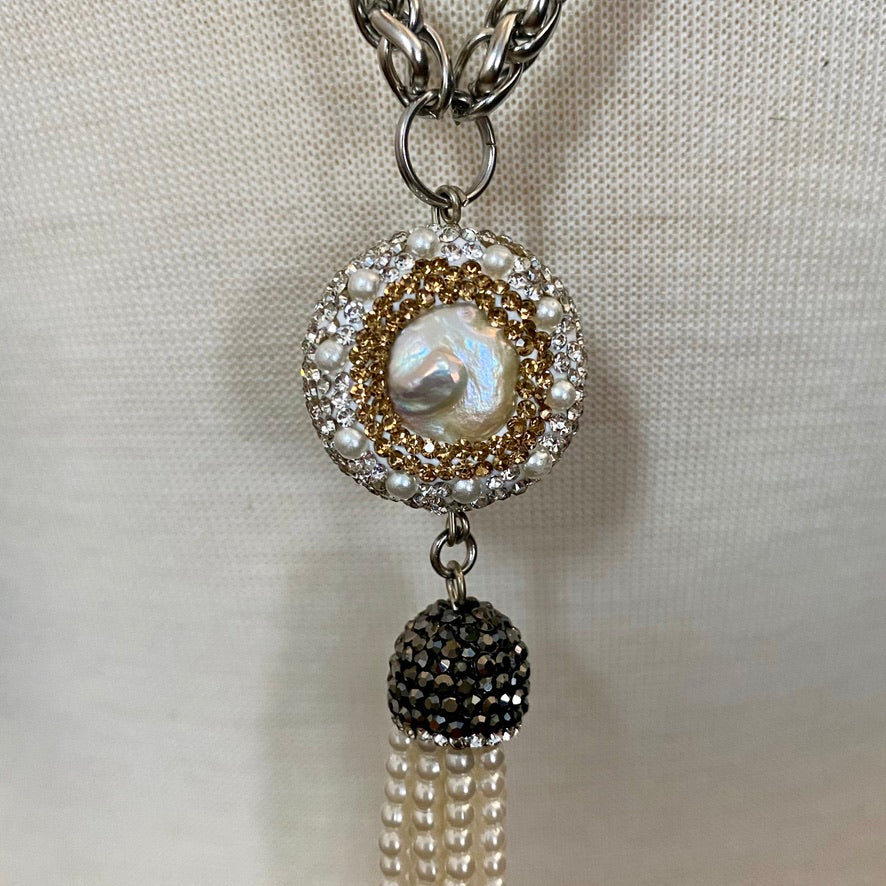 LONG LARIAT MADE OF BRAIDED 6MM STAINLESS STEEL CHAIN WITH PAVE CRYSTAL-AND-PEARL BEADS AND PEARL TASSEL.by NYET Jewelry