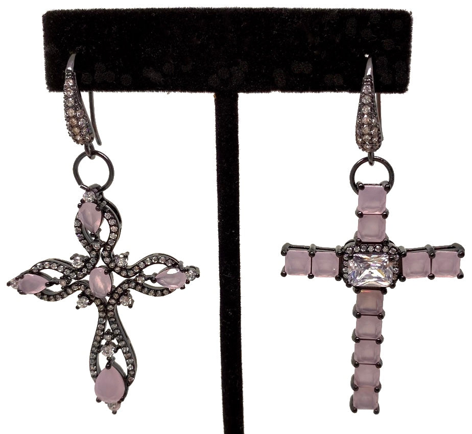 DROP PENDENT CROSS EARRINGS WITH AMETHYST GLASS BEADS AND CUBIC ZIRCONIAS THROUGHOUT. by NYET Jewelry.