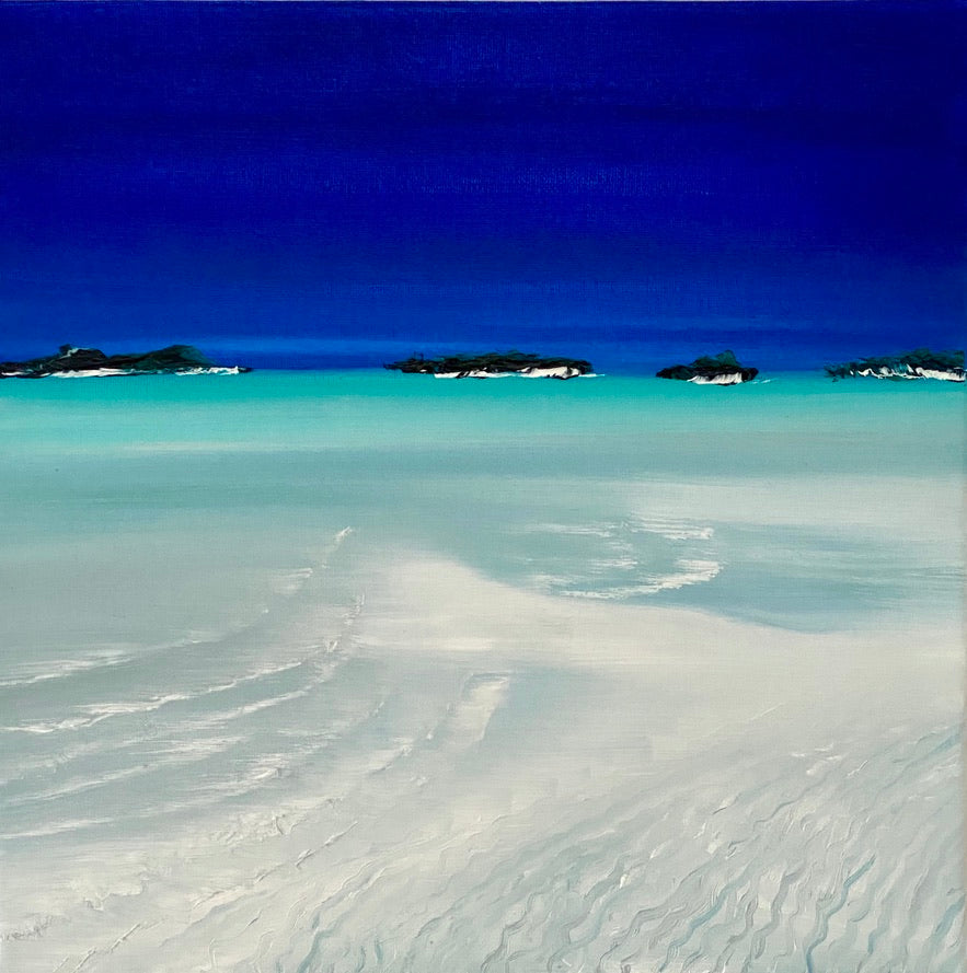 SAND BAR IN THE EXUMAS PAINTING. by delphine pontvieux.