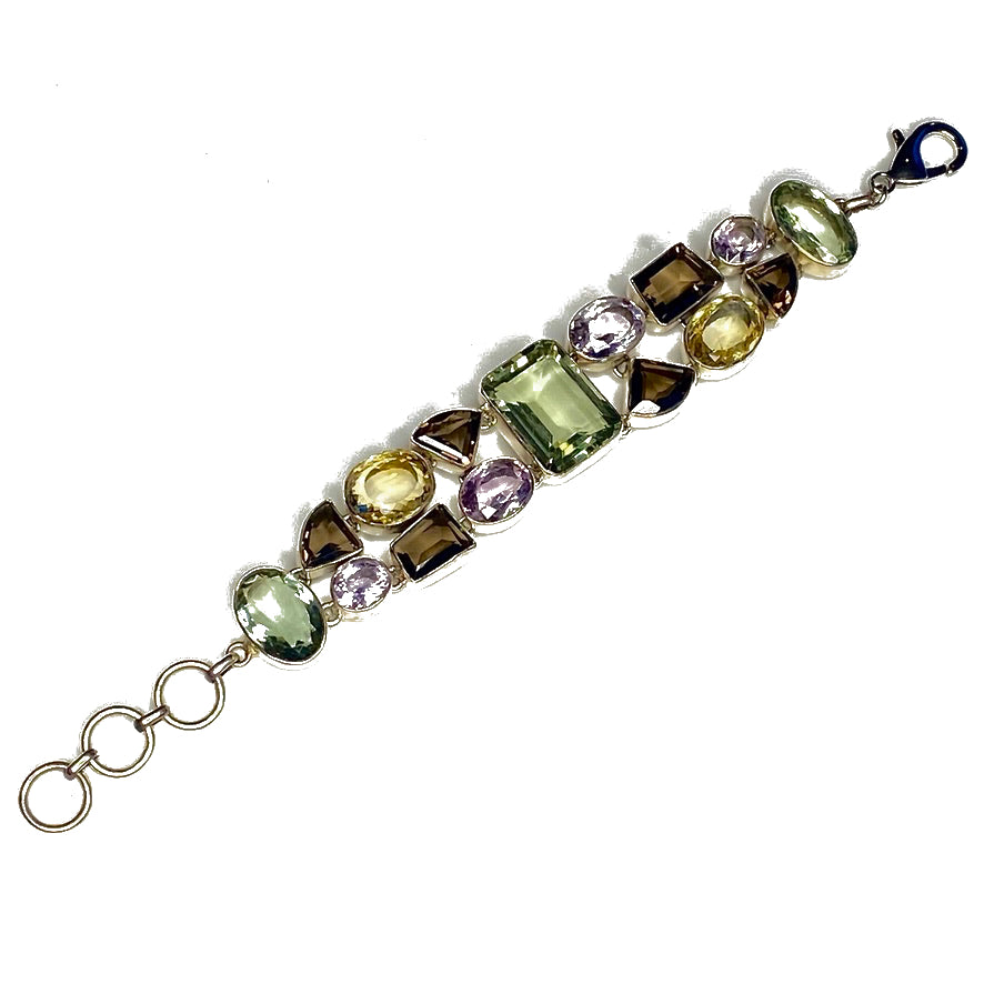 BAROQUE BRACELET SILVER WITH LARGE FACETED GEMSTONES by NYET Jewelry.
