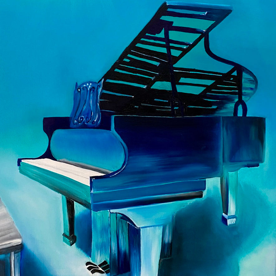 Underwater piano painting by Delphine Pontvieux