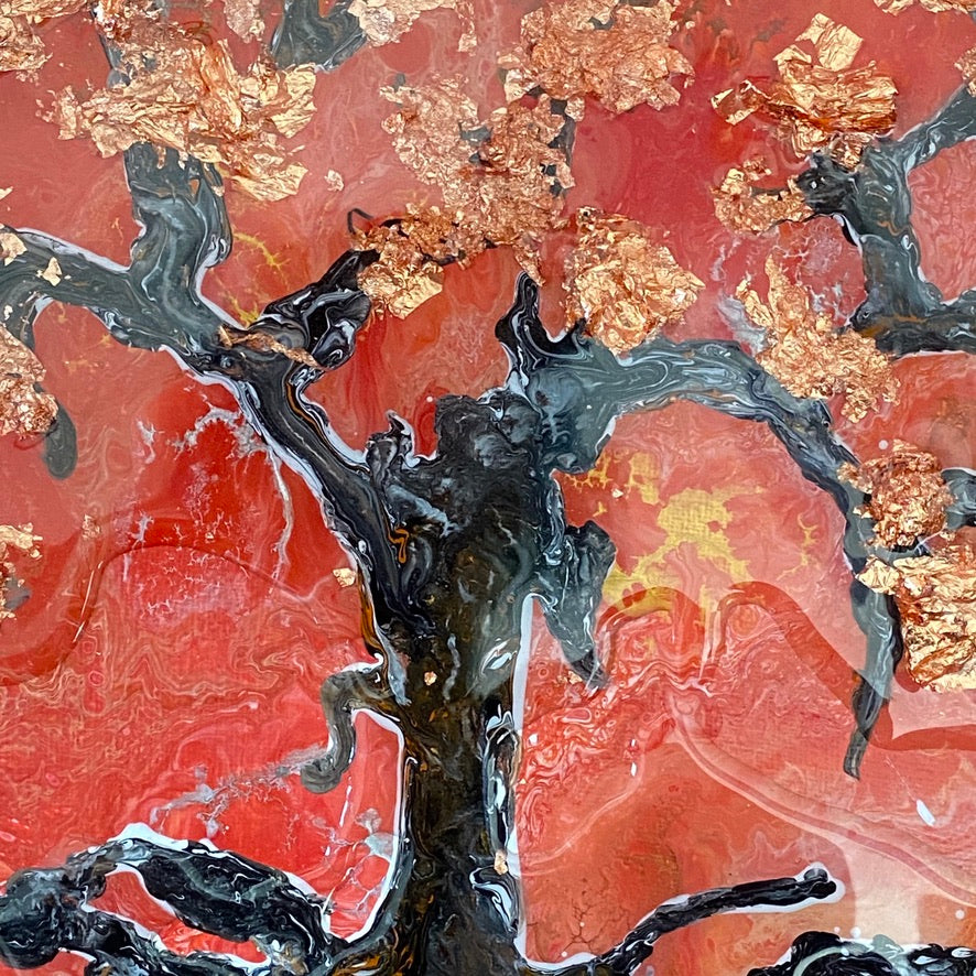 Cherry blossom tree in a bushfire acrylic painting by D pontvieux close up