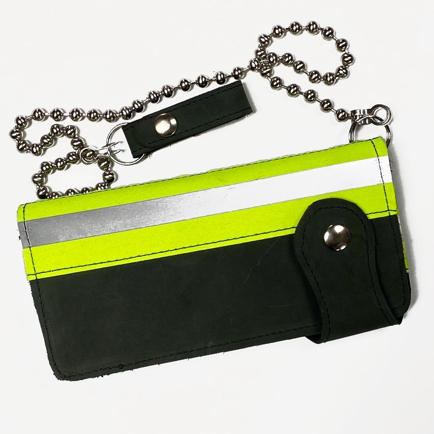GREY UTILITY LEATHER COWHIDE BIKER WALLET WITH NEON & REFLECTIVE BAND STRIPES AND MATCHING CHAIN. by NYET Jewelry.