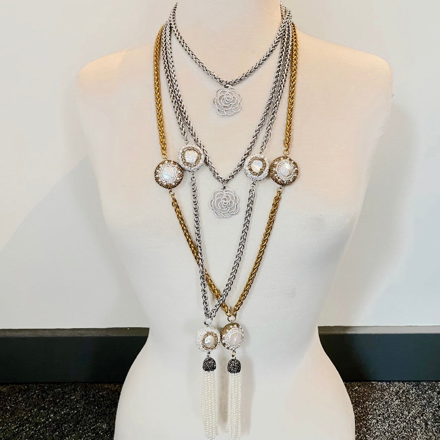 Camellia necklace combo by Nyet Jewelry