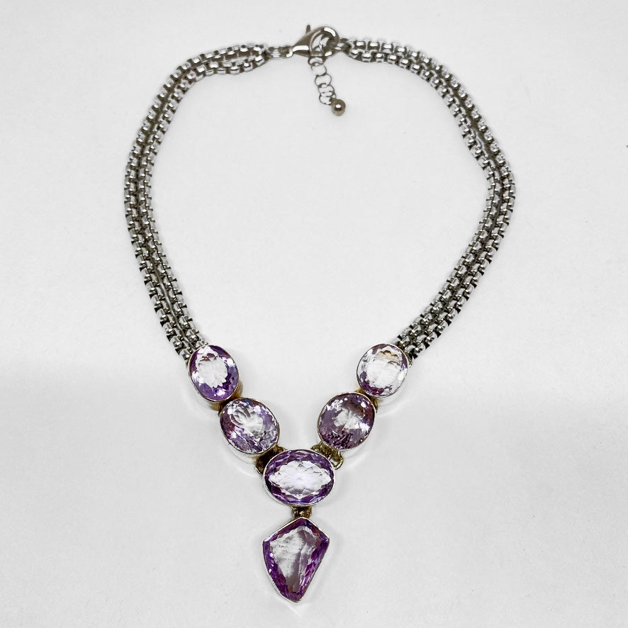 OVAL AMETHYST FACETED STONE WITH STAINLESS STEEL CHAINS NECKLACE by nyet jewelry.