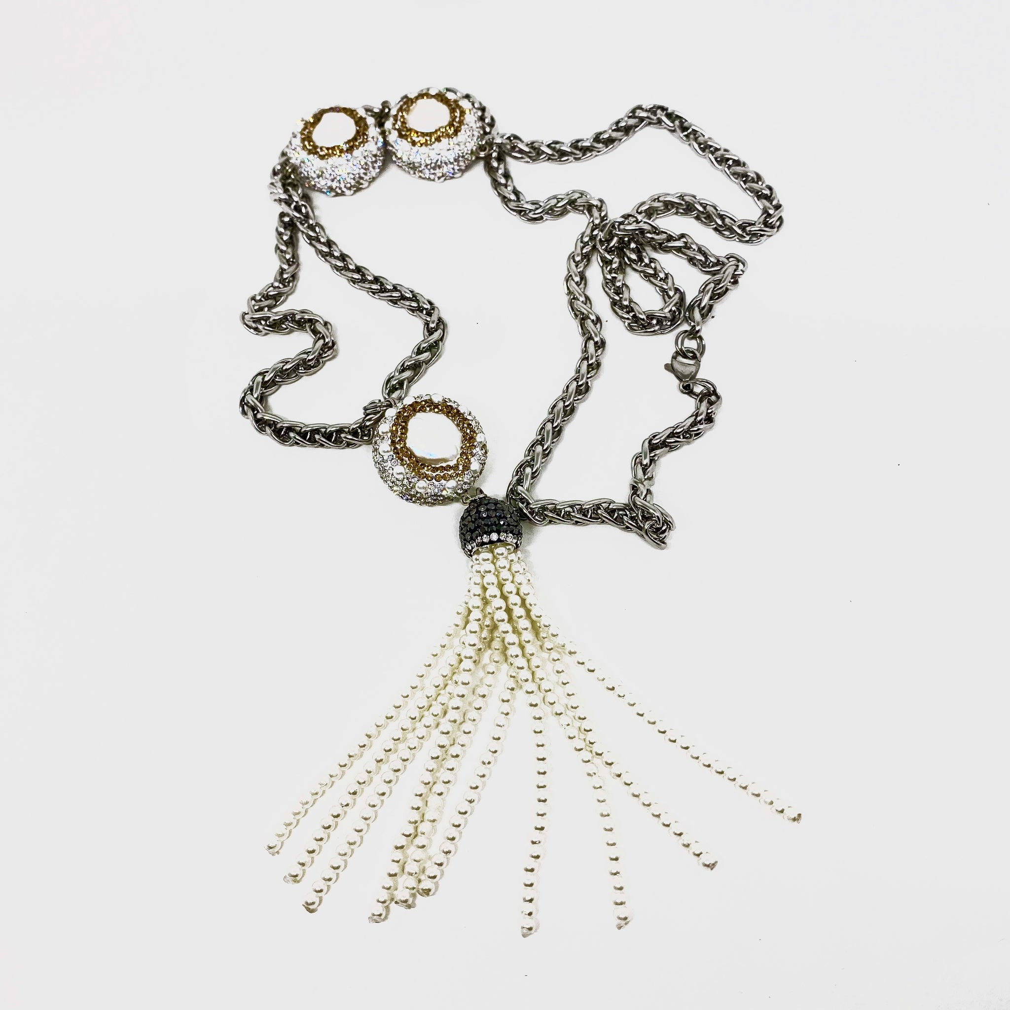 LONG LARIAT MADE OF BRAIDED 6MM STAINLESS STEEL CHAIN WITH PAVE CRYSTAL-AND-PEARL BEADS AND PEARL TASSEL.by NYET Jewelry  Edit alt text