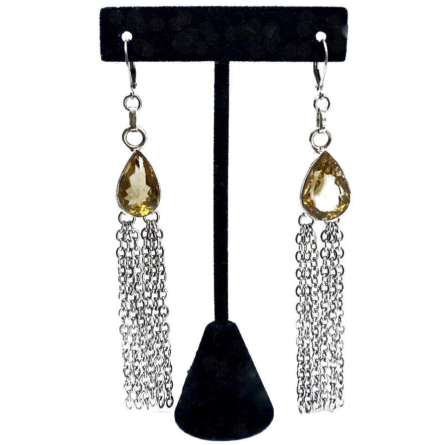 TEAR DROP CITRINE FACETED STONE WITH CLUSTER OF STAINLESS STEEL CHAINS EARRINGS by nyet jewelry