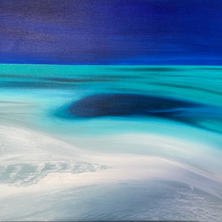 Blue hole by sand bar original painting by Delphine Pontvieux  Edit alt text truncated version