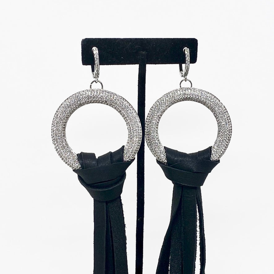 EXTRA LONG TASSEL DEERSKIN LEATHER EARRINGS WITH PAVE CZ RING. by NYET Jewelry.