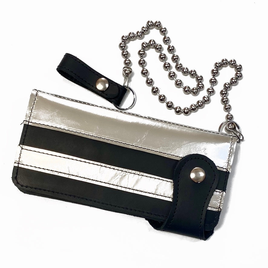 BLACK STONE OILED LEATHER COWHIDE BIKER WALLET WITH SILVER RACING STRIPES AND MATCHING CHAIN. by NYET Jewelry.